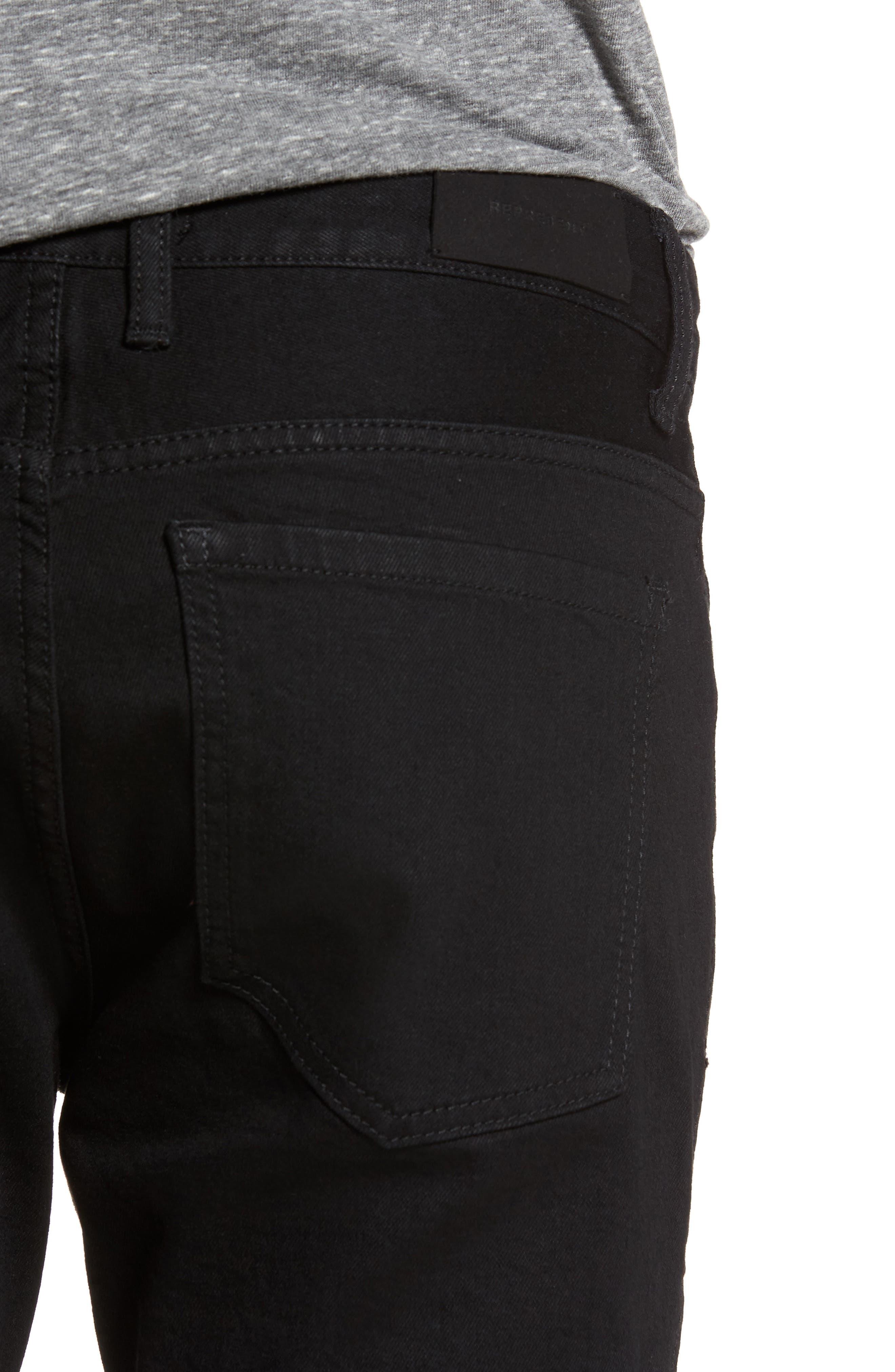 Slim Fit Distressed Jeans,                             Alternate thumbnail 4, color,                             001