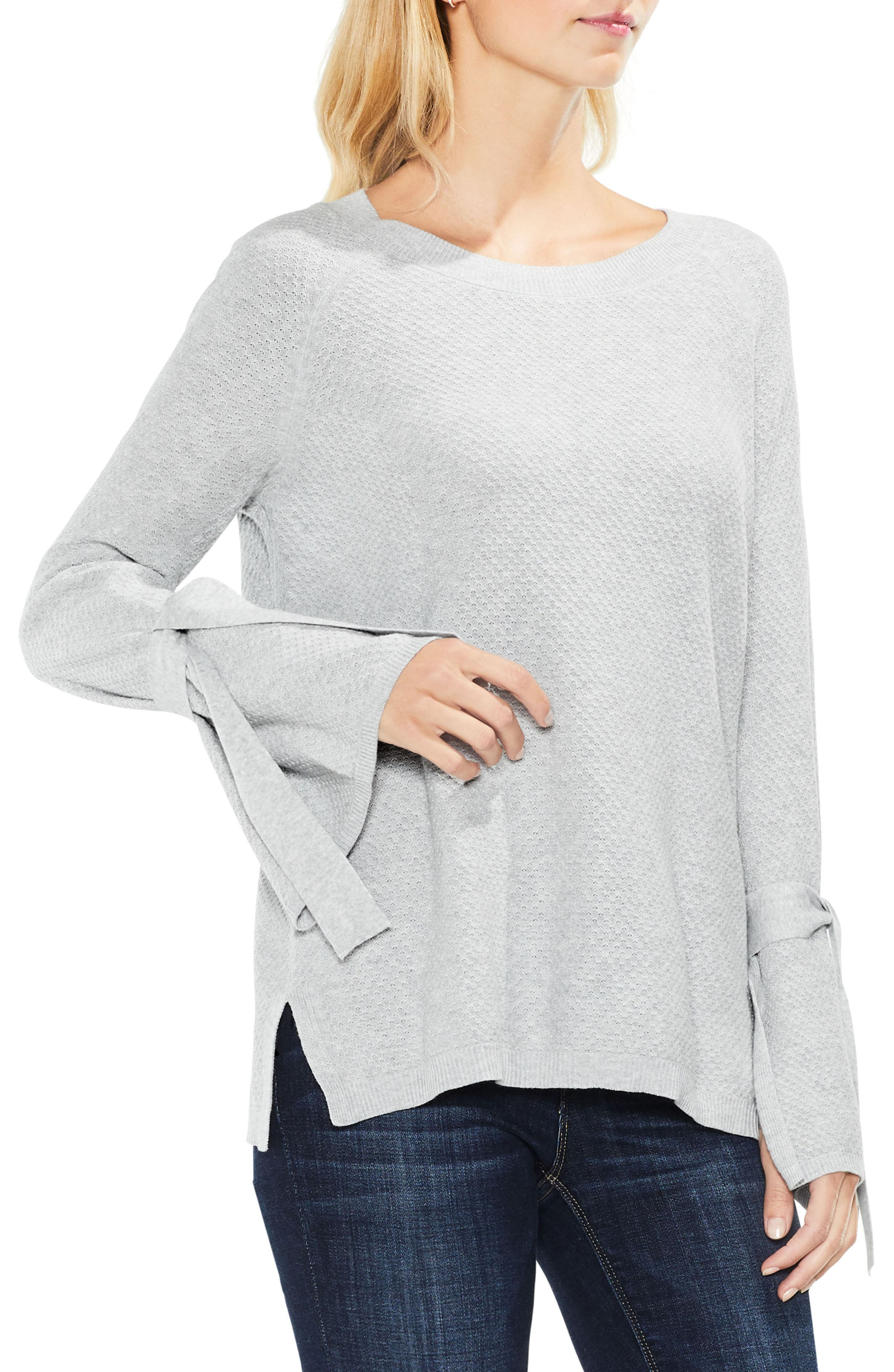 Texture Stitch Tie-Sleeve Top,                         Main,                         color, 050