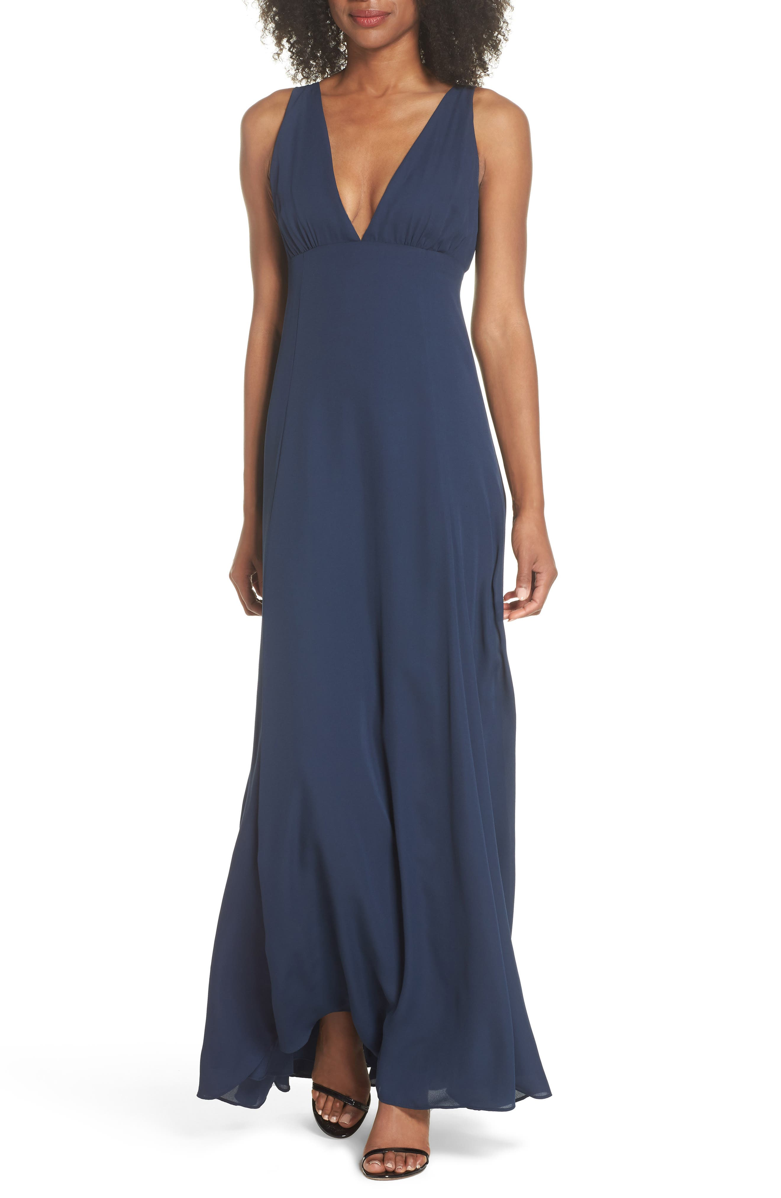 The Kiara Empire Plunge Neck Gown,                             Main thumbnail 1, color,                             NAVY