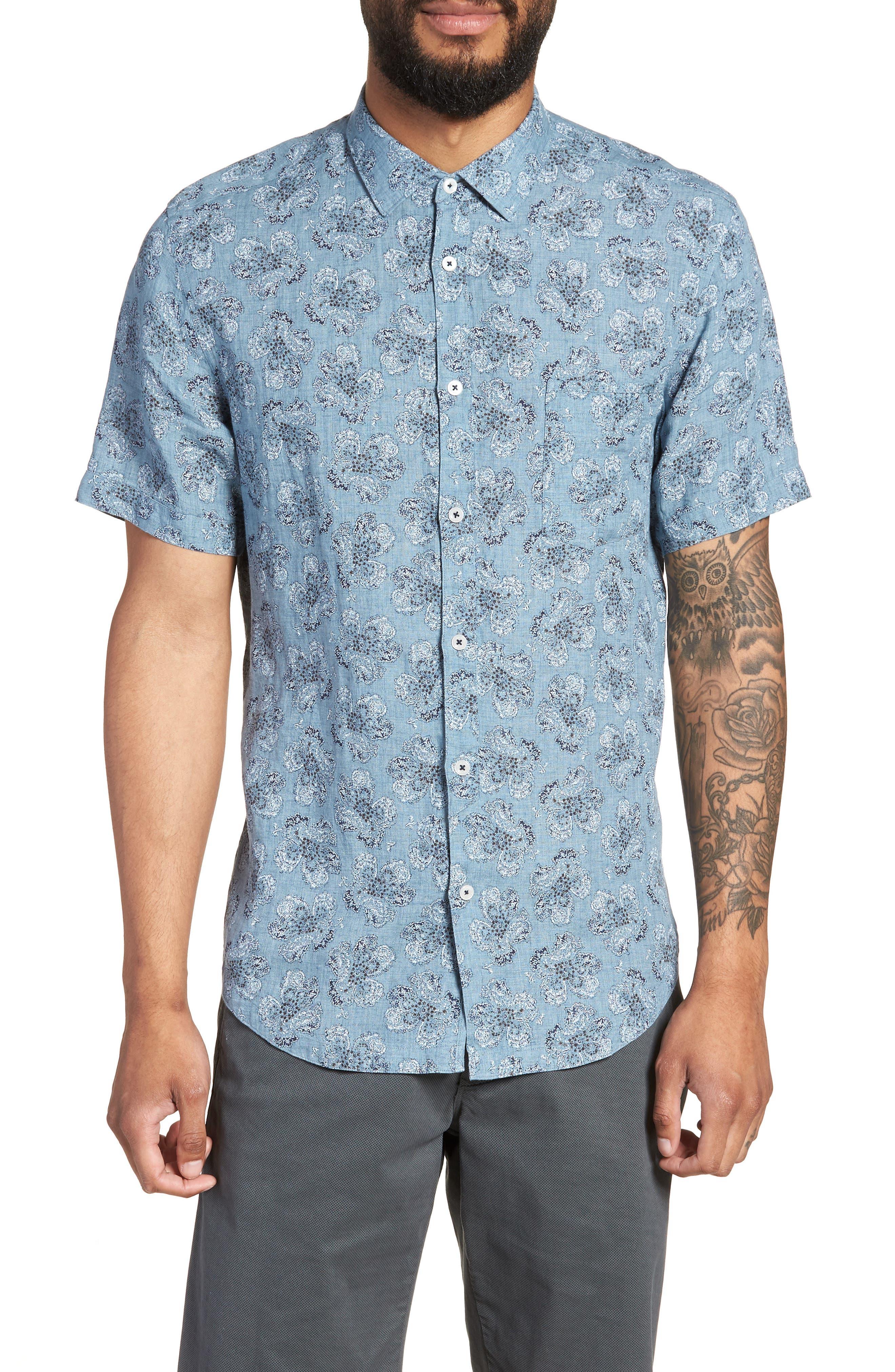 Tokyo Slim Fit Floral Short Sleeve Sport Shirt,                         Main,                         color, INDIGO