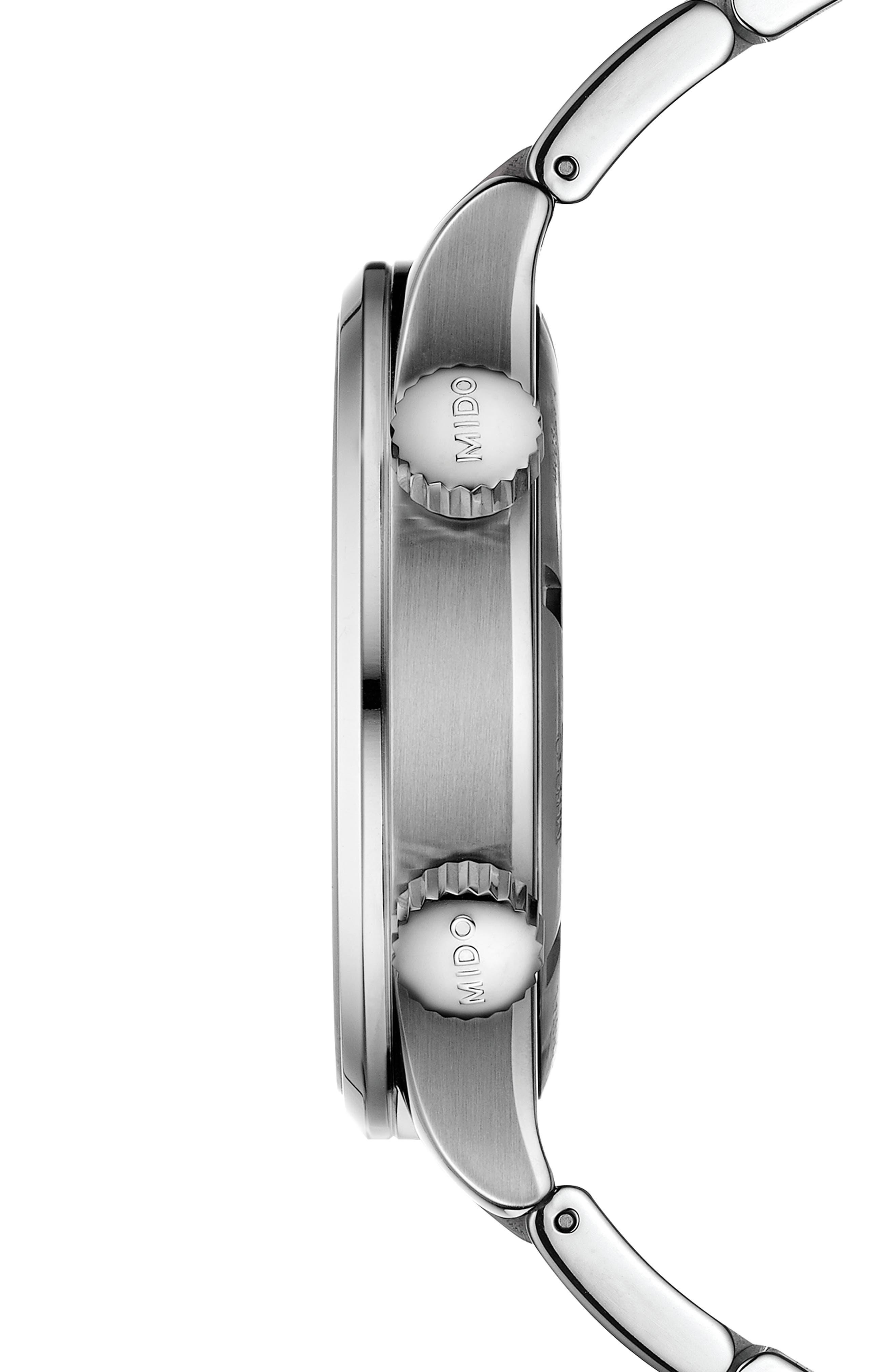 Multifort Automatic Bracelet Watch,                             Alternate thumbnail 3, color,                             SILVER/ BLACK/ SILVER