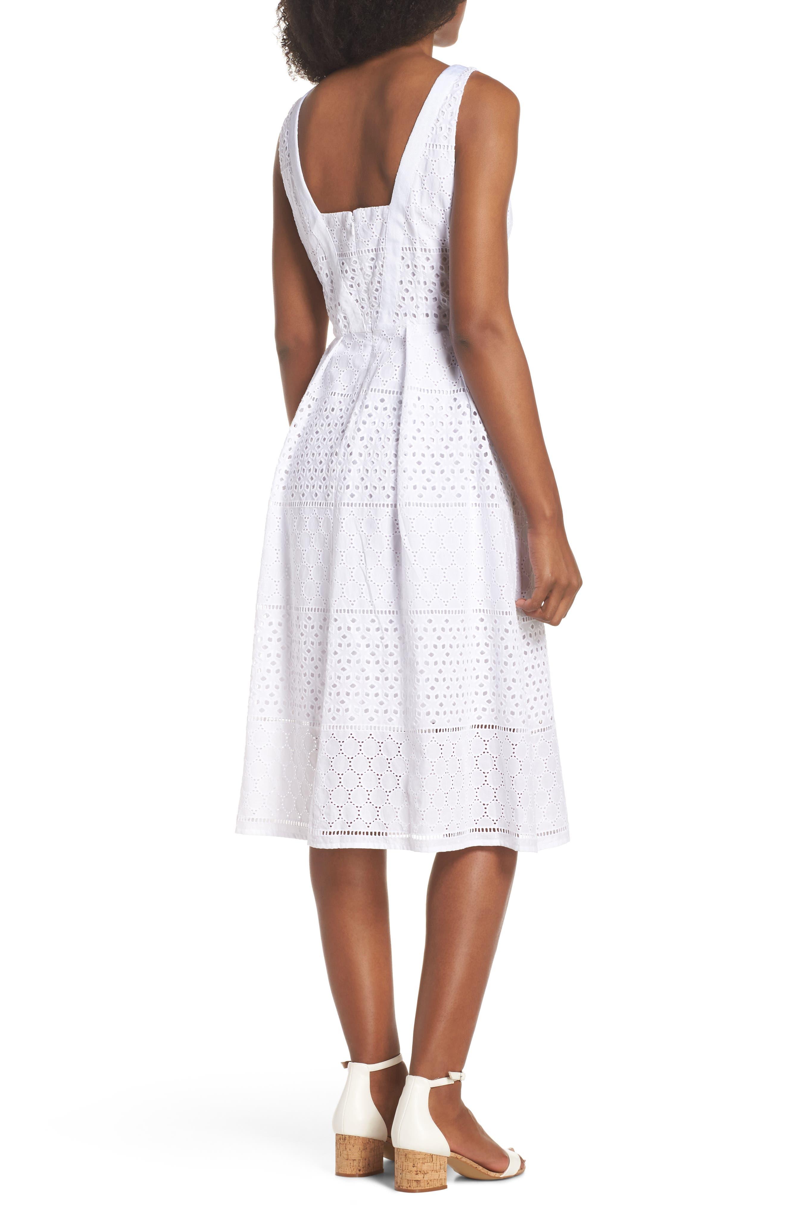 V-Neck Cotton Eyelet Fit & Flare Dress,                             Alternate thumbnail 4, color,