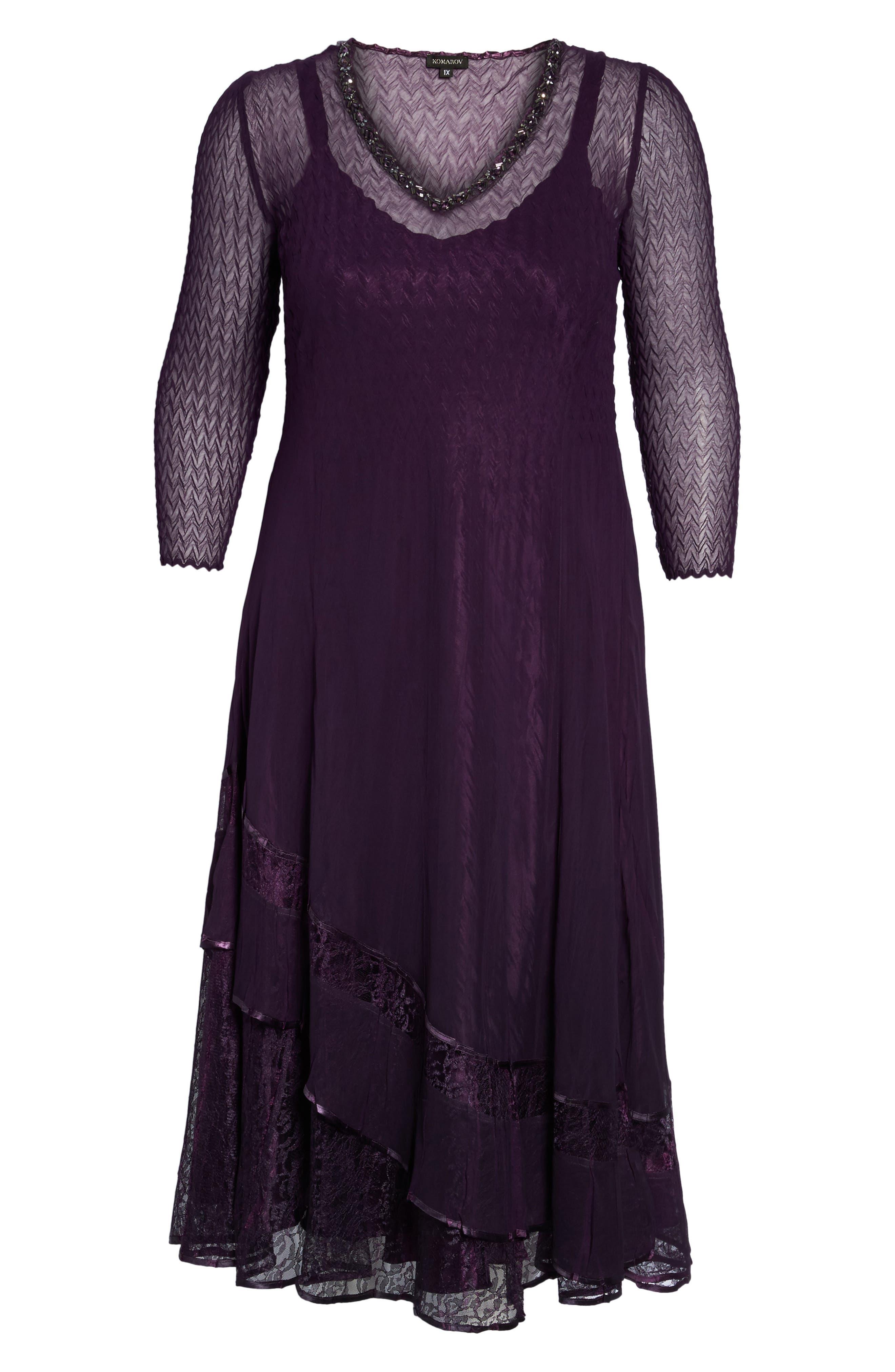 Chiffon Layer Charmeuse Dress,                             Alternate thumbnail 6, color,                             507