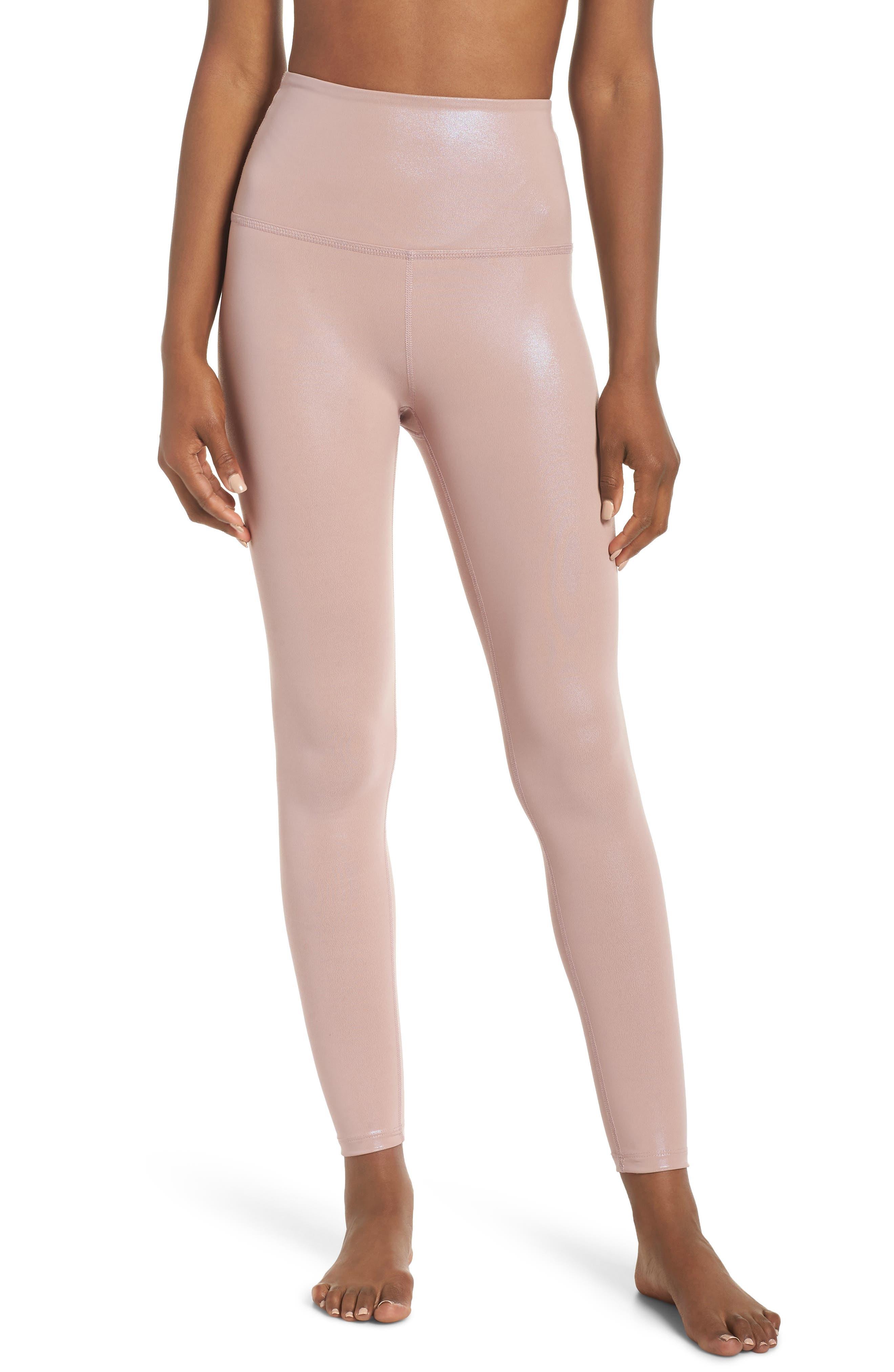 Pearlized High Waist Ankle Leggings,                         Main,                         color, BRAZEN BLUSH