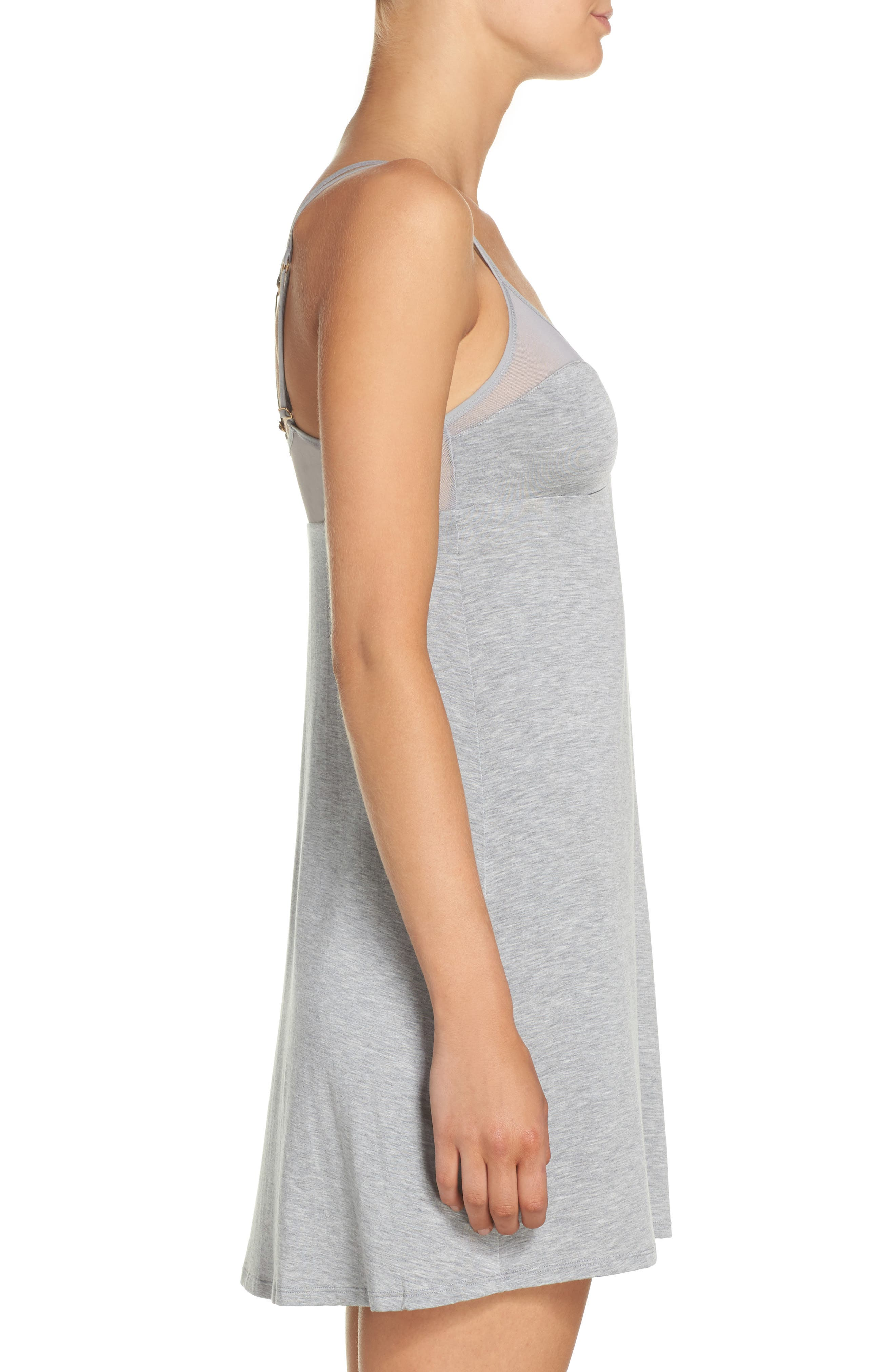 Knit Chemise,                             Alternate thumbnail 3, color,                             LIGHT GREY HEATHER