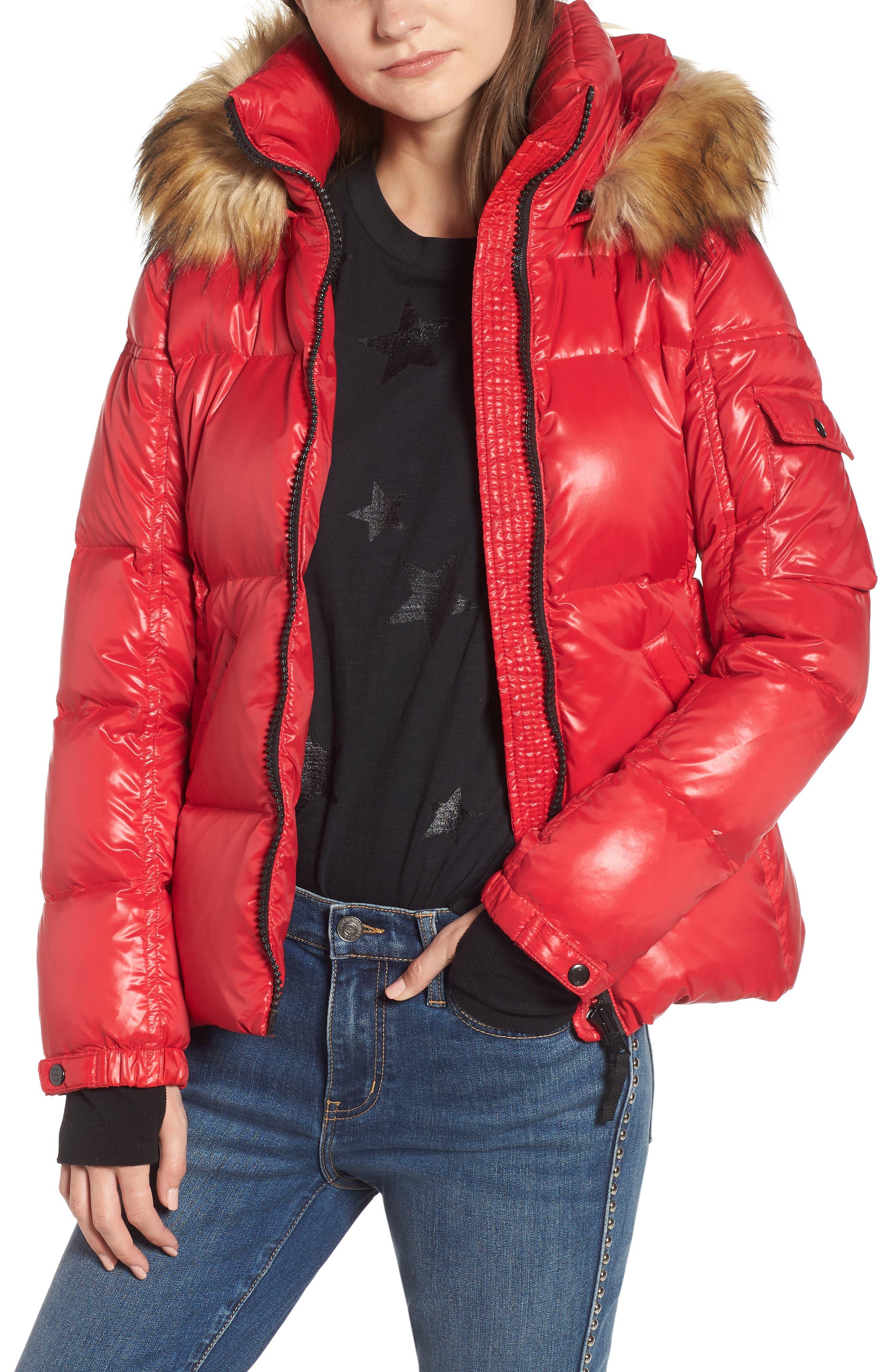 Kylie Faux Fur Trim Gloss Puffer Jacket,                             Main thumbnail 4, color,