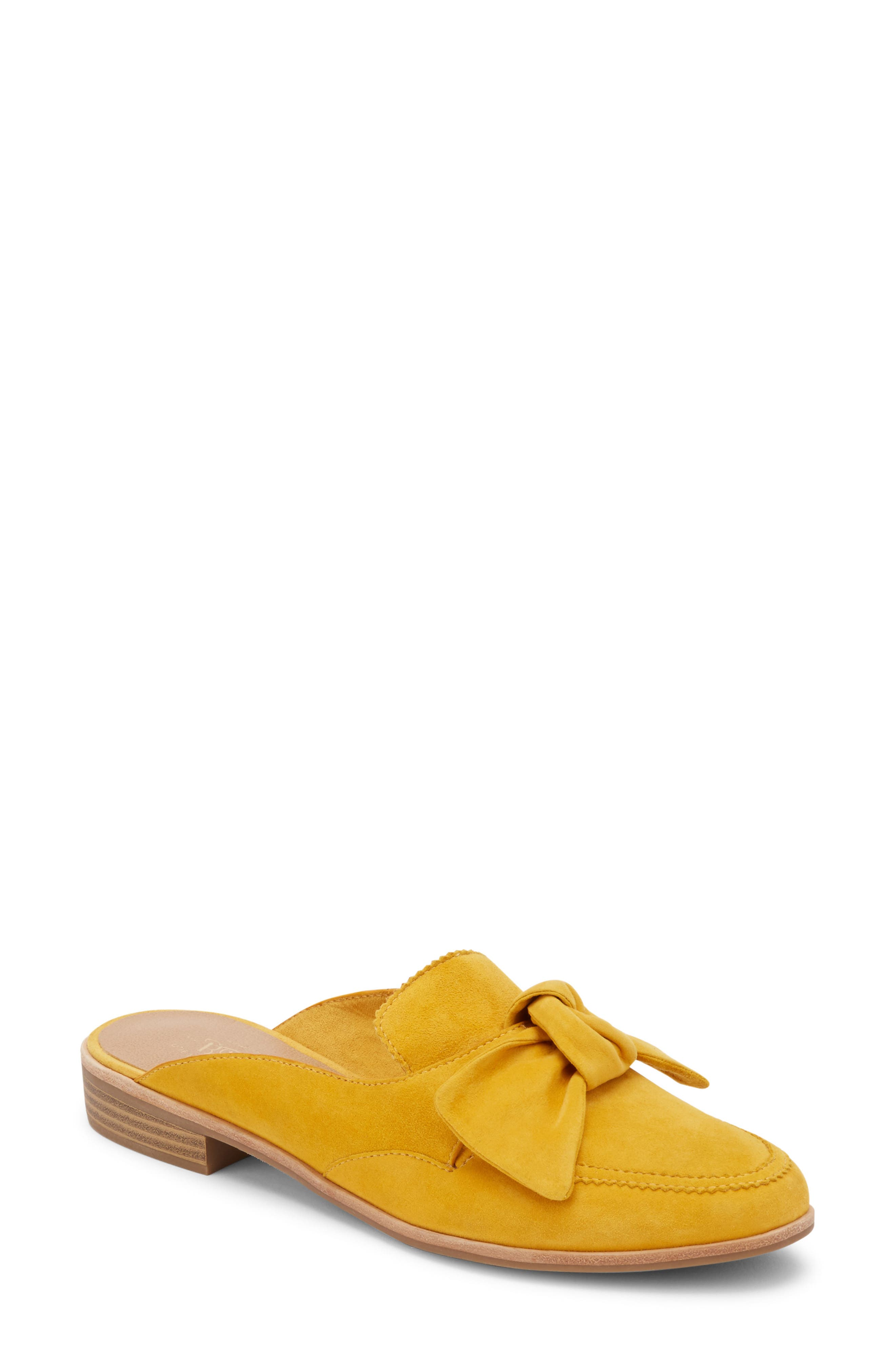 Ebbie Bow Mule,                             Main thumbnail 1, color,                             YELLOW SUEDE