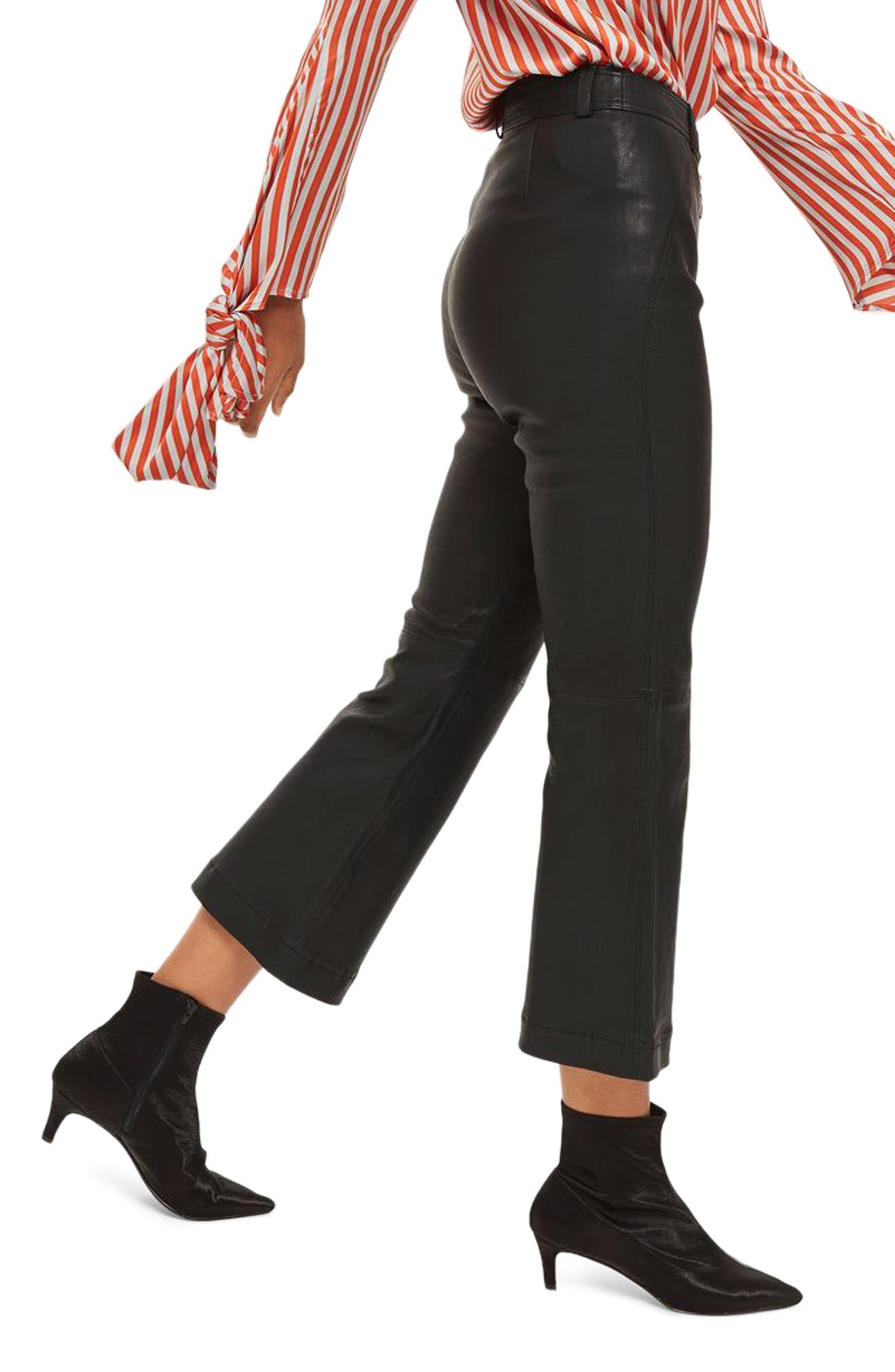 Premium Kick Flare Crop Leather Pants,                             Alternate thumbnail 3, color,
