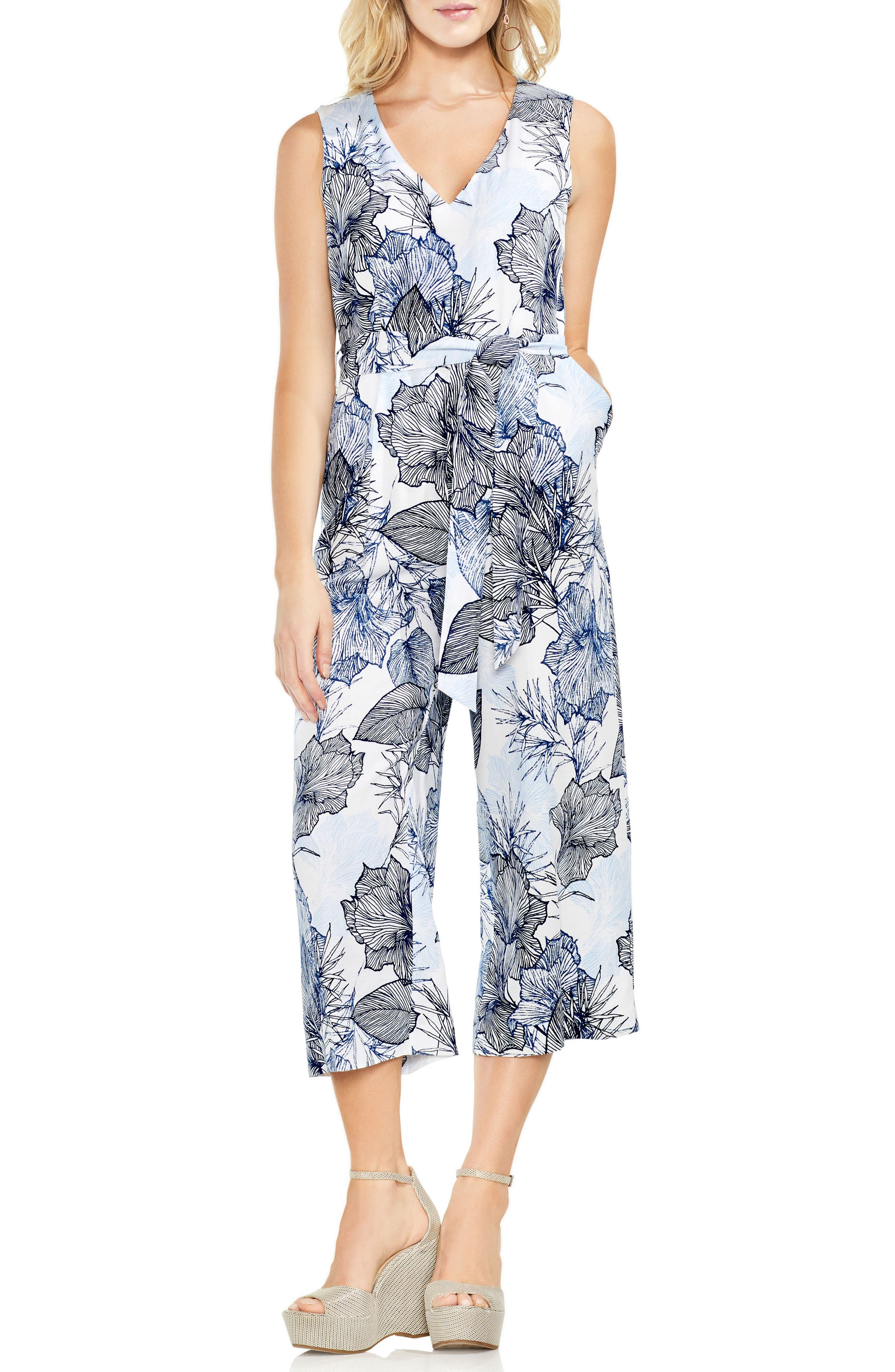 Island Floral Belted Crop Jumpsuit,                             Main thumbnail 1, color,                             145