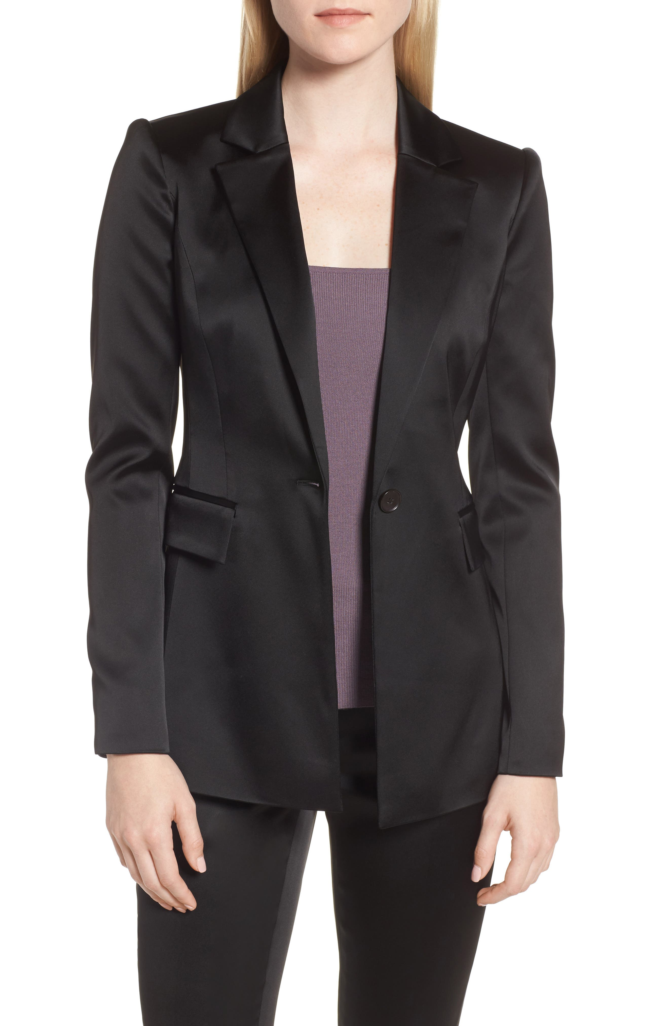 Puff Shoulder Satin Blazer,                             Main thumbnail 1, color,