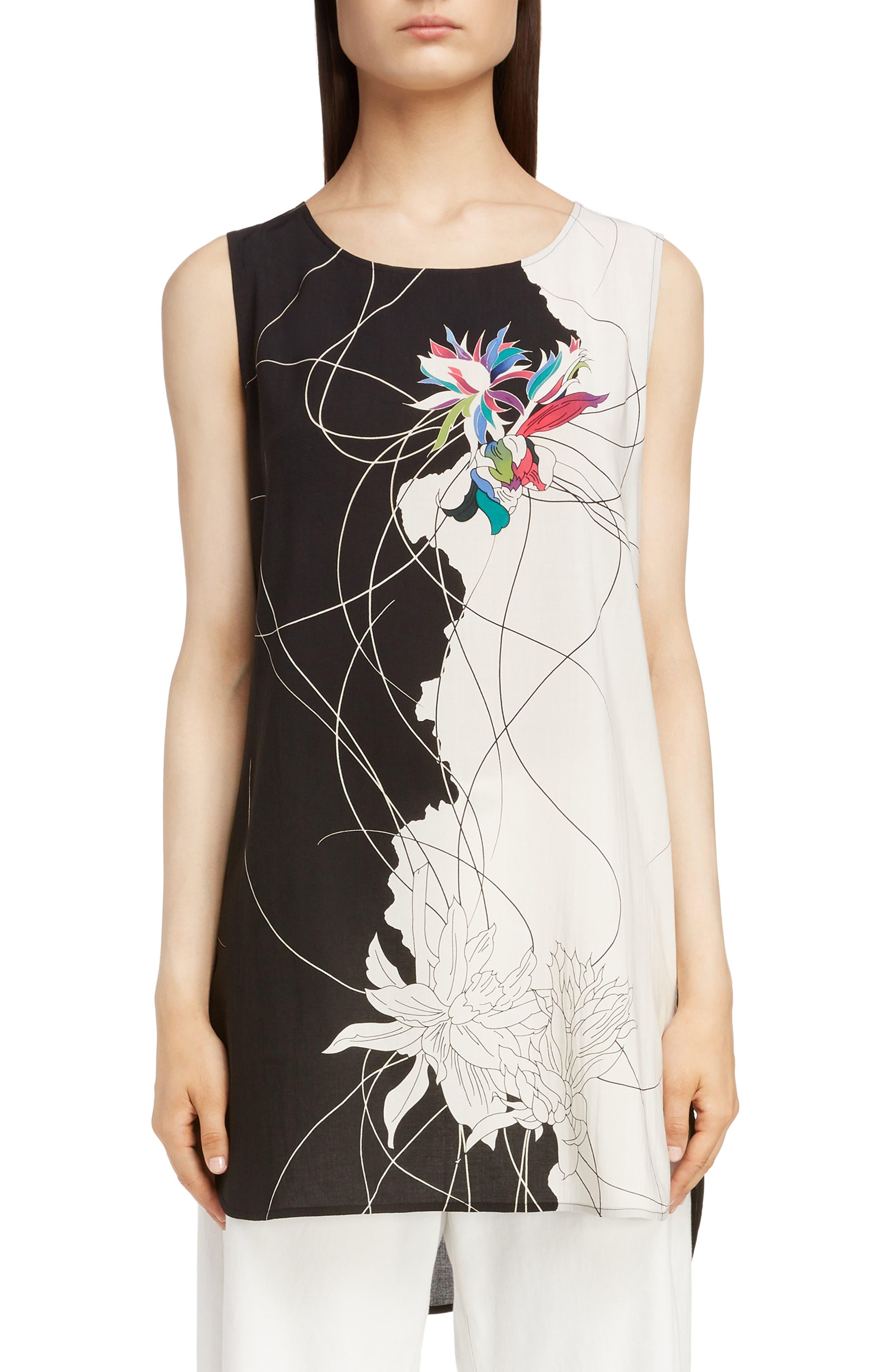 Print Sleeveless Tunic,                         Main,                         color, PINK-BLACK BASE