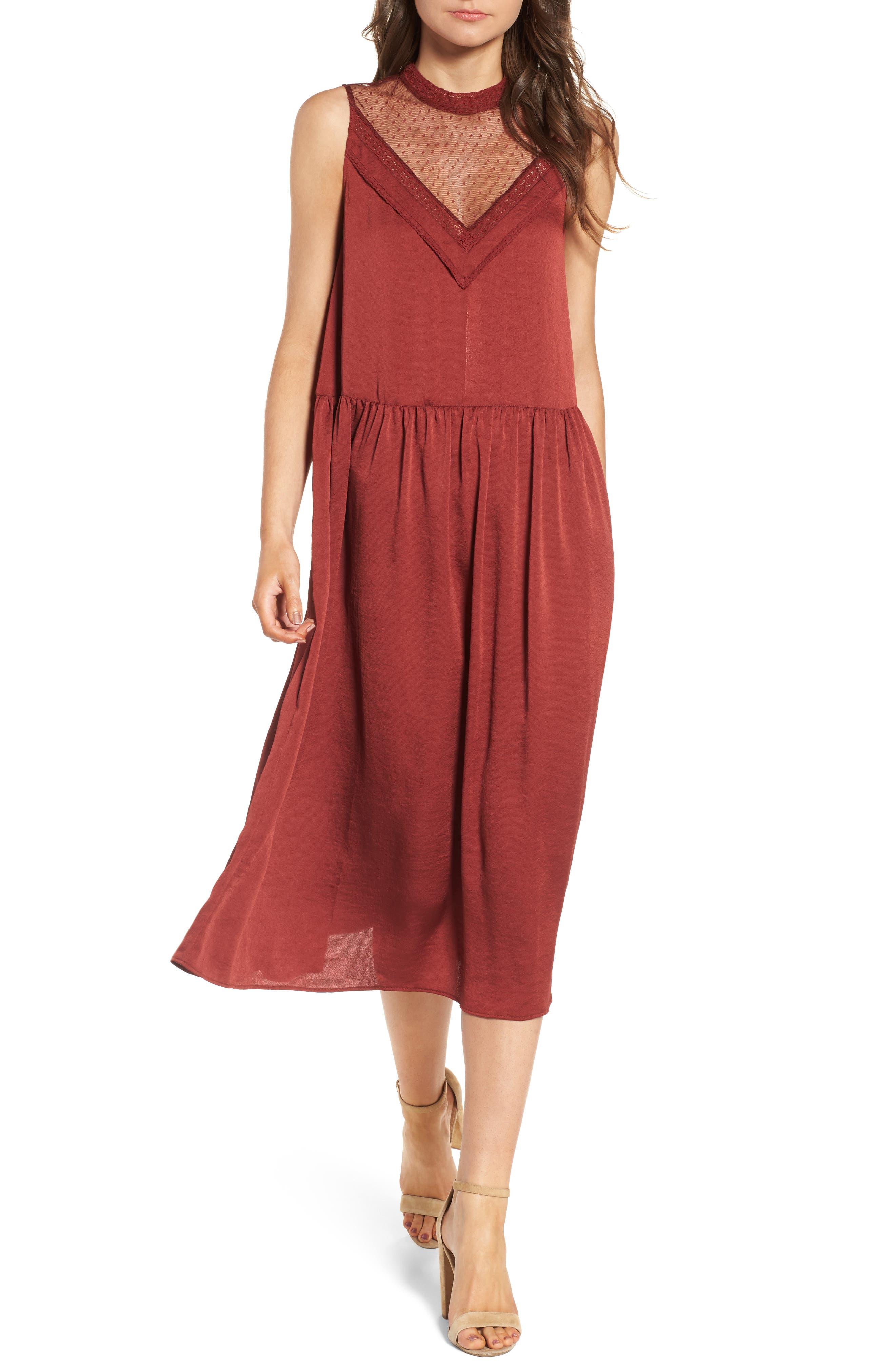 Mesh Panel Midi Dress,                             Main thumbnail 2, color,