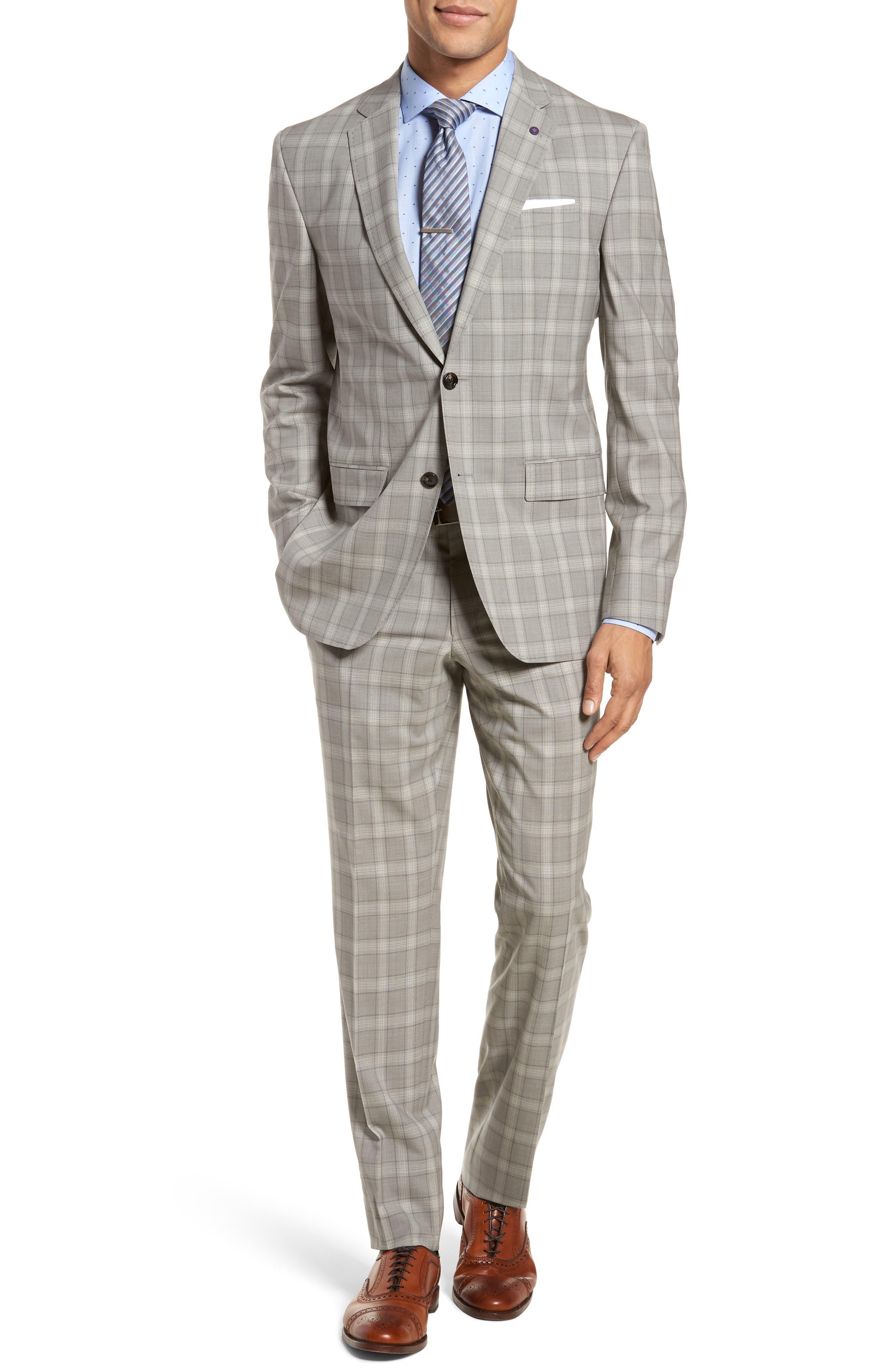 Jay Trim Fit Plaid Wool Suit,                         Main,                         color, 050