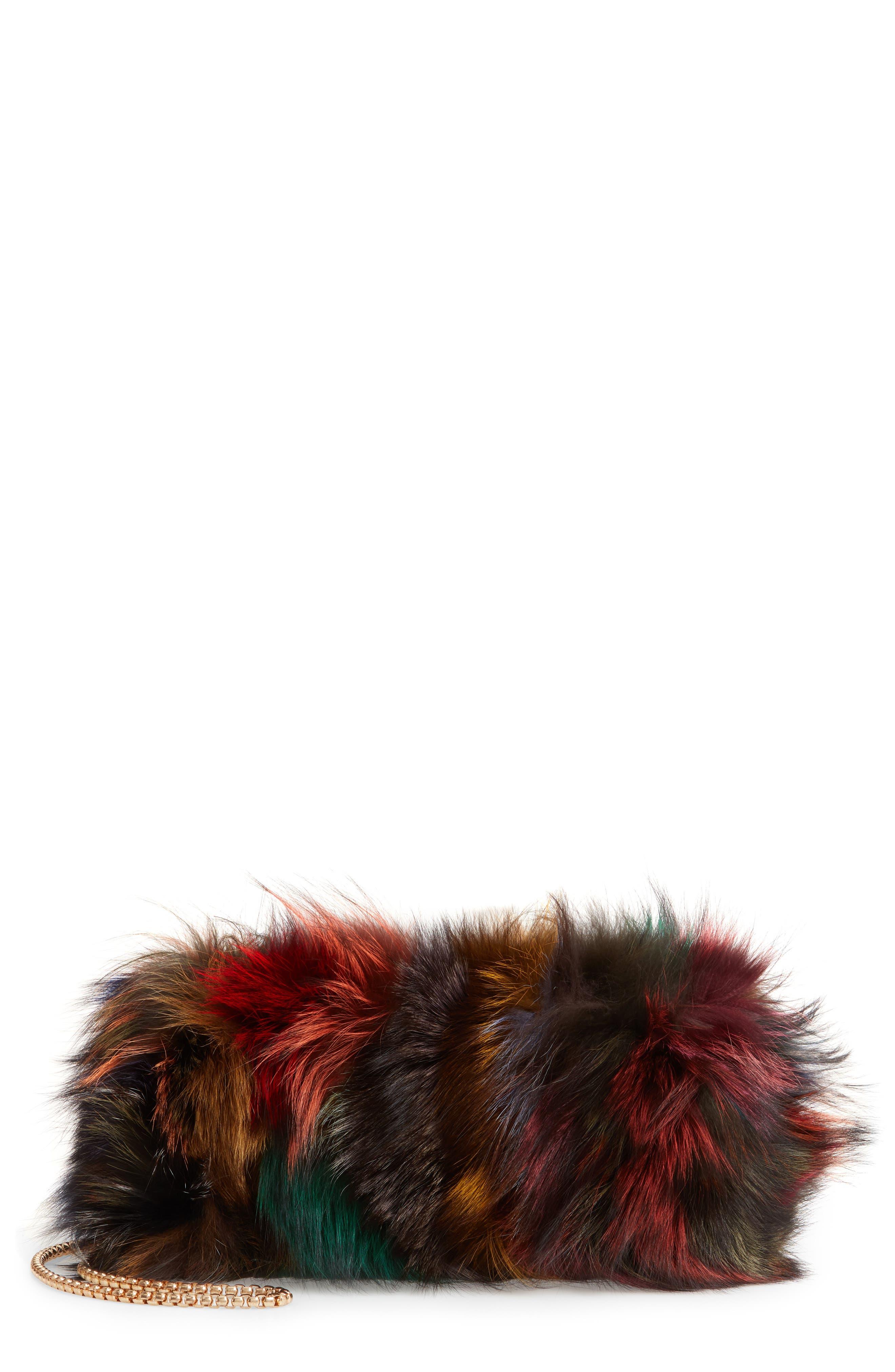 Elmo Genuine Silver Fox Fur Shoulder Bag,                             Main thumbnail 1, color,                             BLUE MULTI