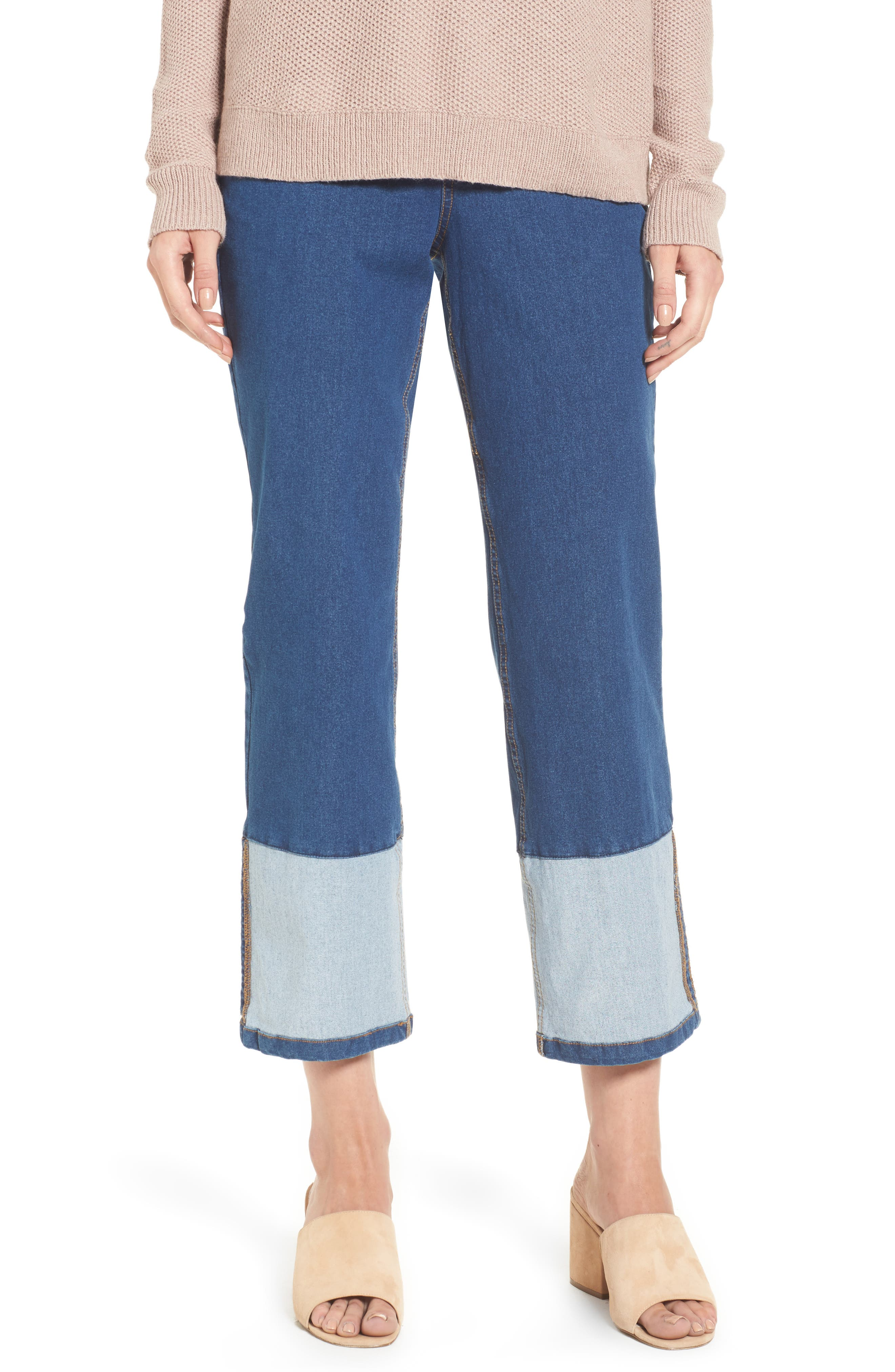 Crop Denim Pants,                             Main thumbnail 1, color,