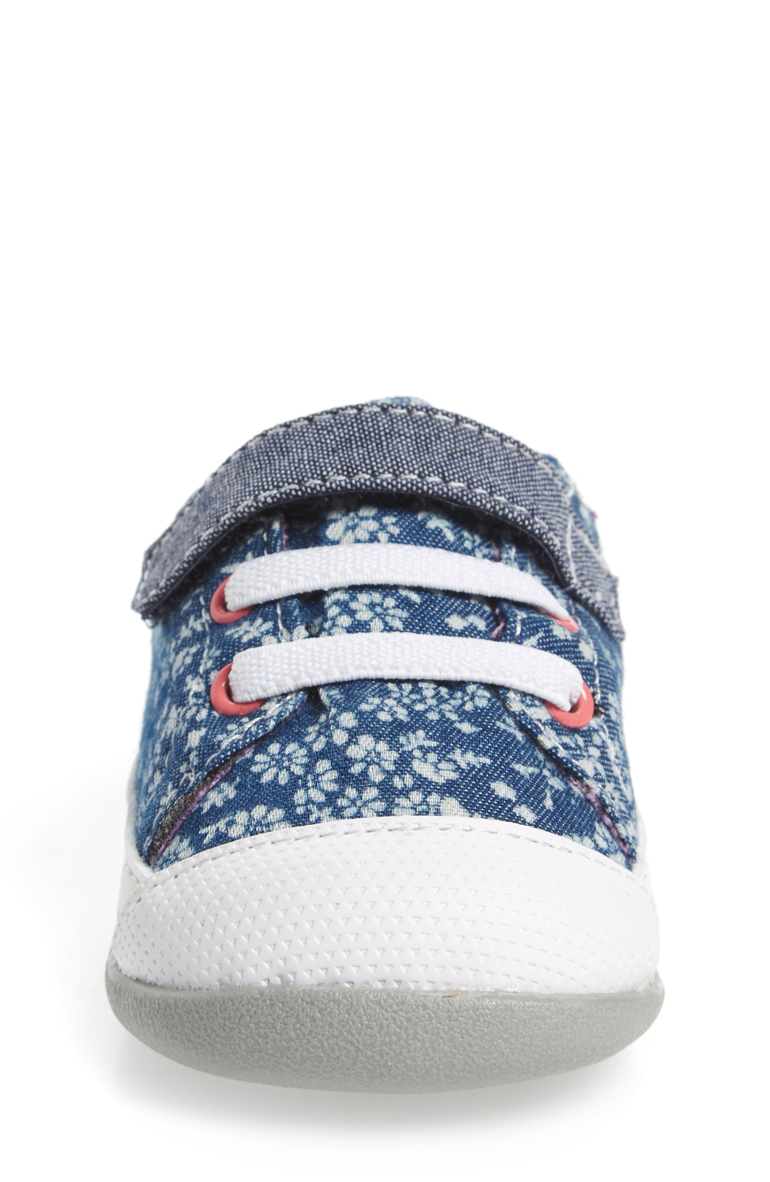 Stevie II Sneaker,                             Alternate thumbnail 4, color,                             BLUE FLOWERS