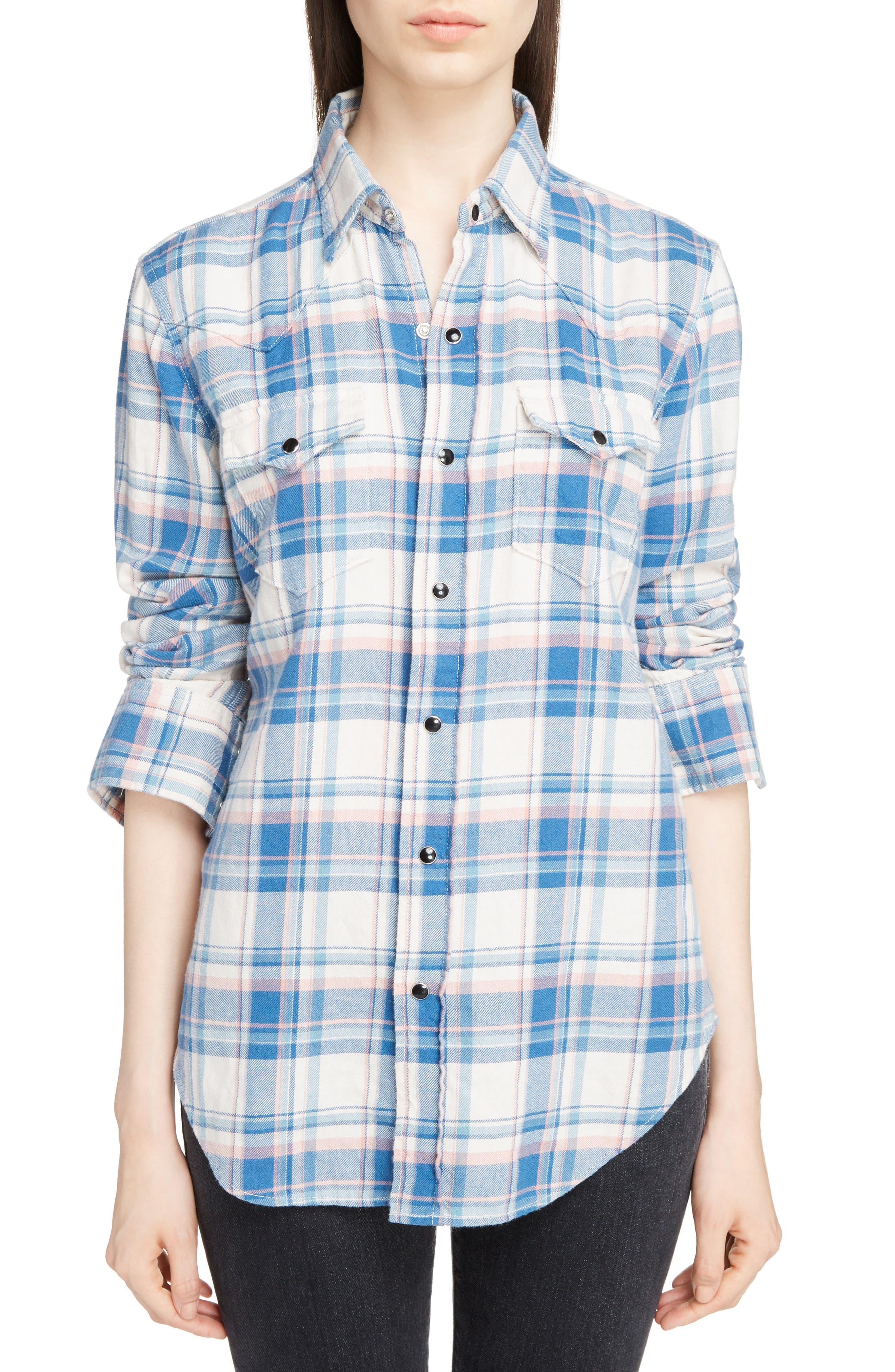 Plaid Western Shirt,                         Main,                         color, 482