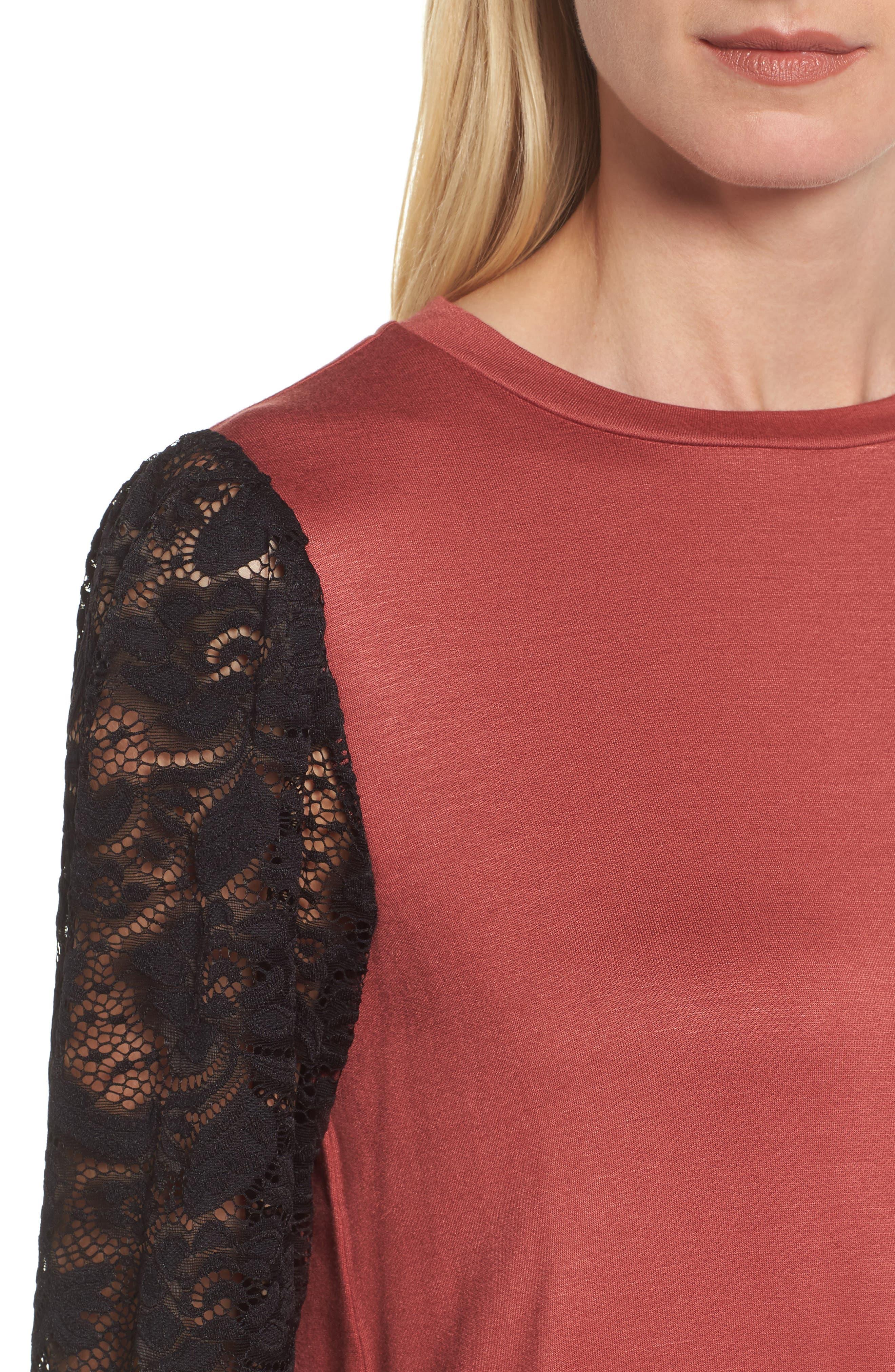 Lace Sleeve Sweatshirt,                             Alternate thumbnail 16, color,