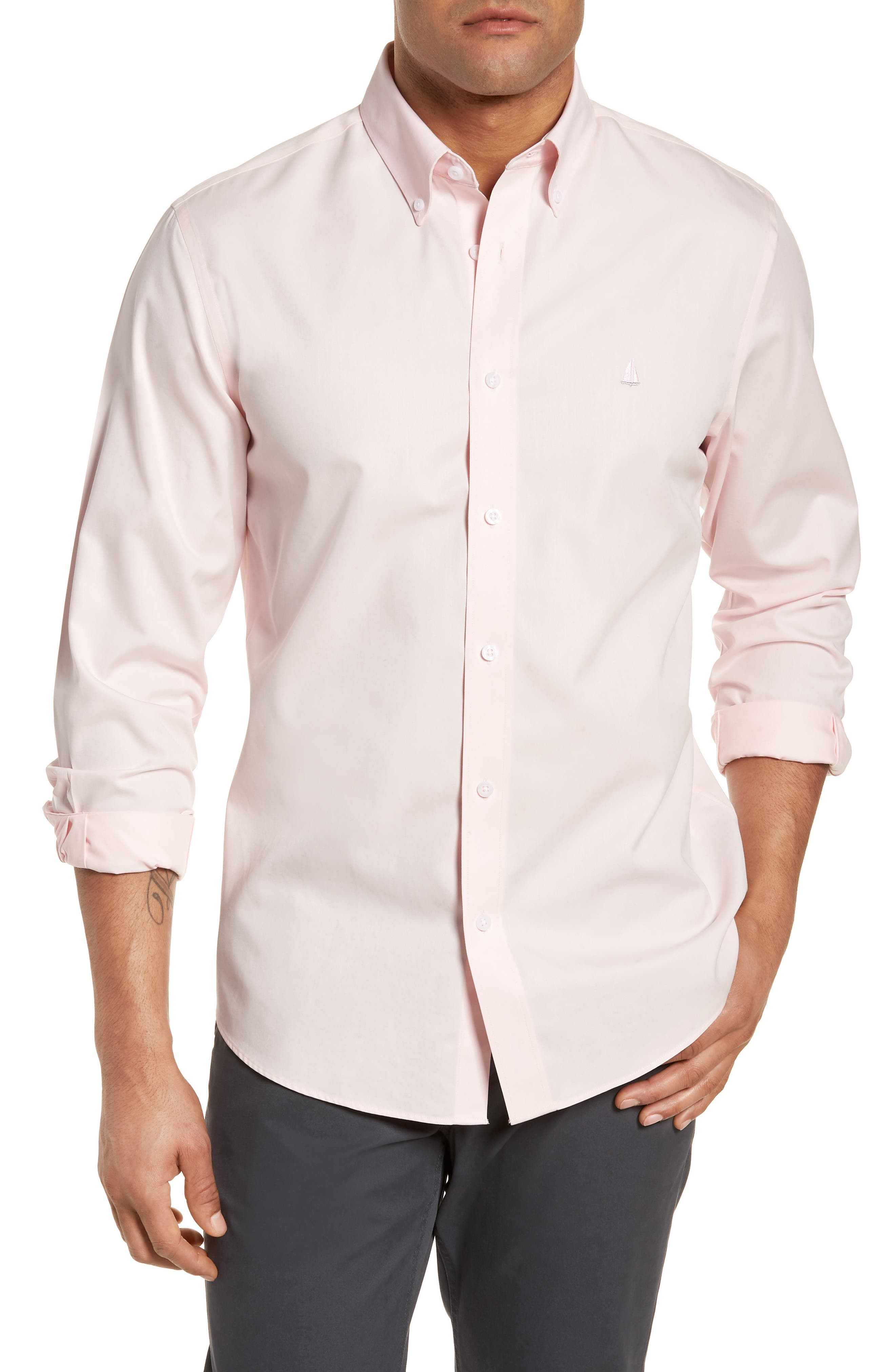 Nordstrom Shop Smartcare(TM) Traditional Fit Twill Boat Shirt, Pink