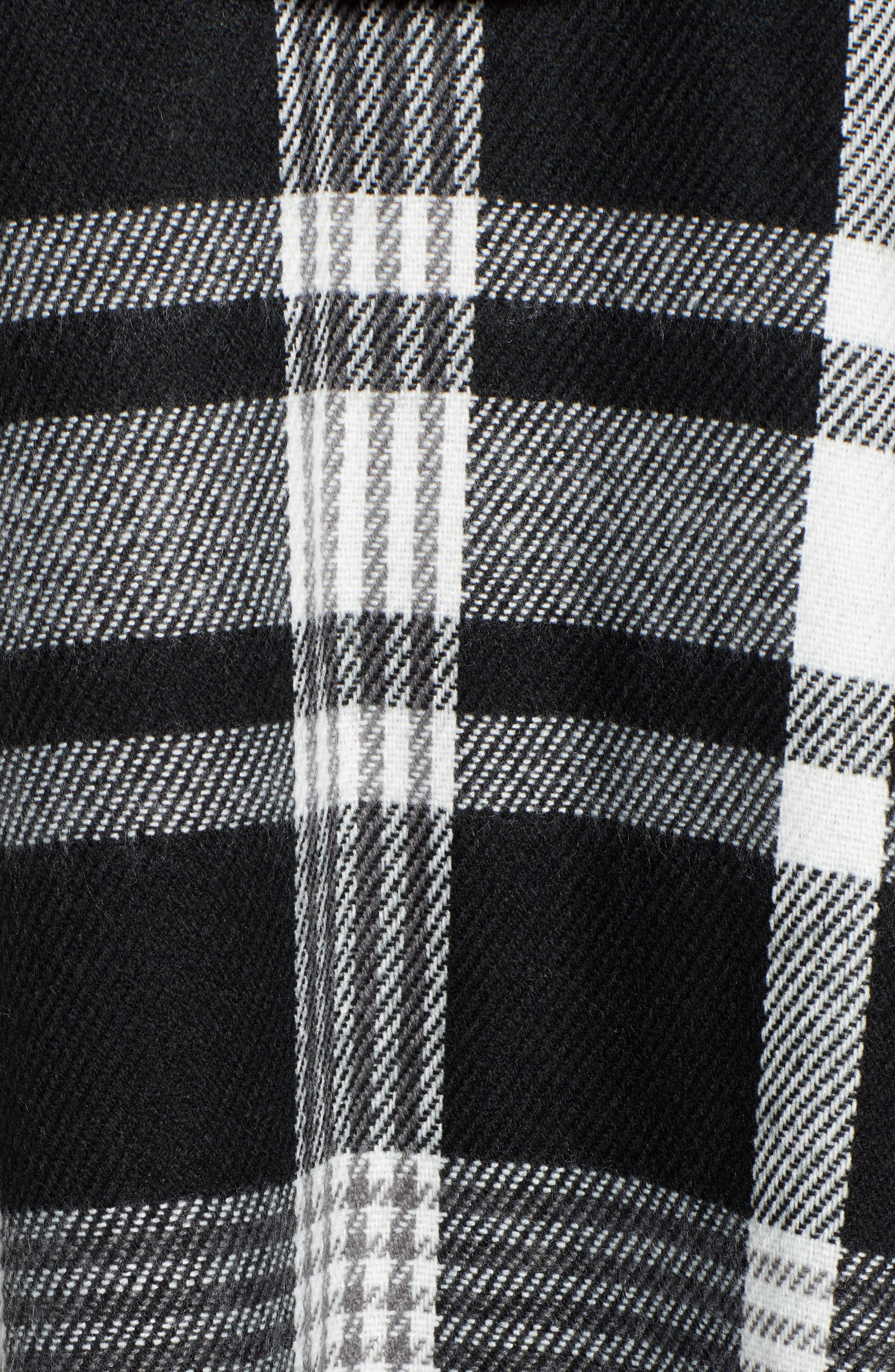 Plaid Hooded Poncho,                             Alternate thumbnail 5, color,                             BLACK COMBO