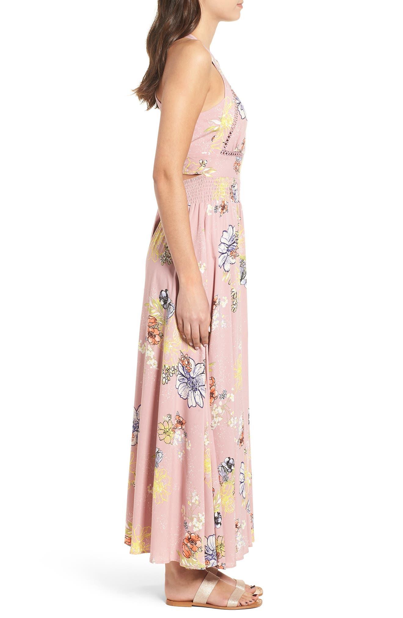 Floral Print Halter Maxi Dress,                             Alternate thumbnail 3, color,                             PINK EGRET ABSTRACT FLORAL