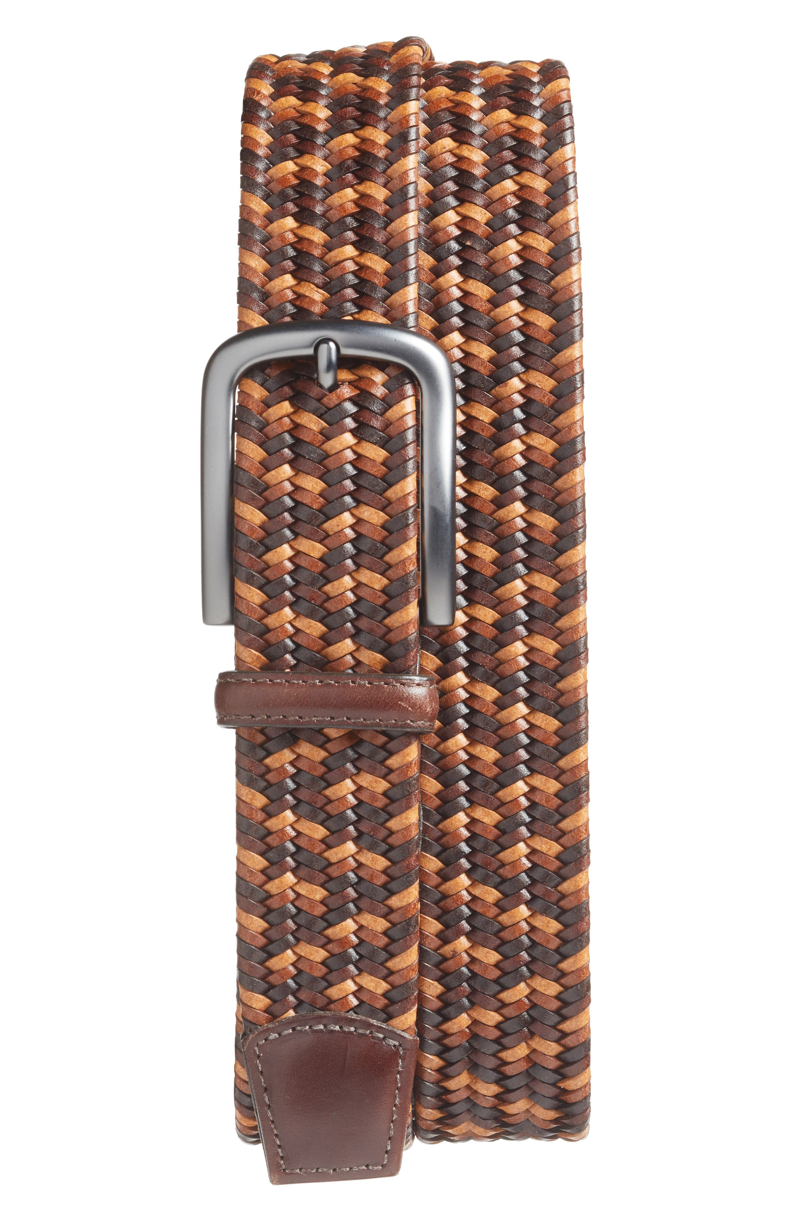 Torino Belts Woven Belt, Brown/ Tan/ Cognac