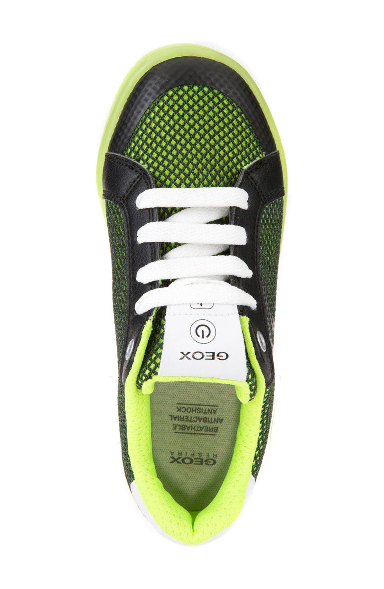 Kommodor Light-Up Mesh Sneaker,                             Alternate thumbnail 5, color,                             BLACK/ LIME
