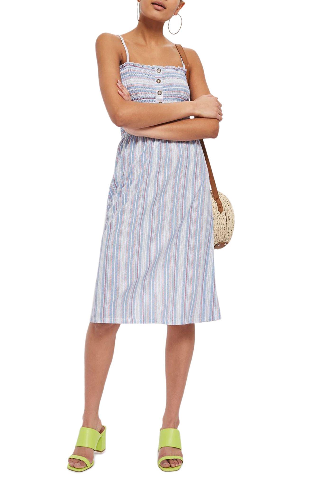 Stripe Shirred Midi Dress,                         Main,                         color, 400
