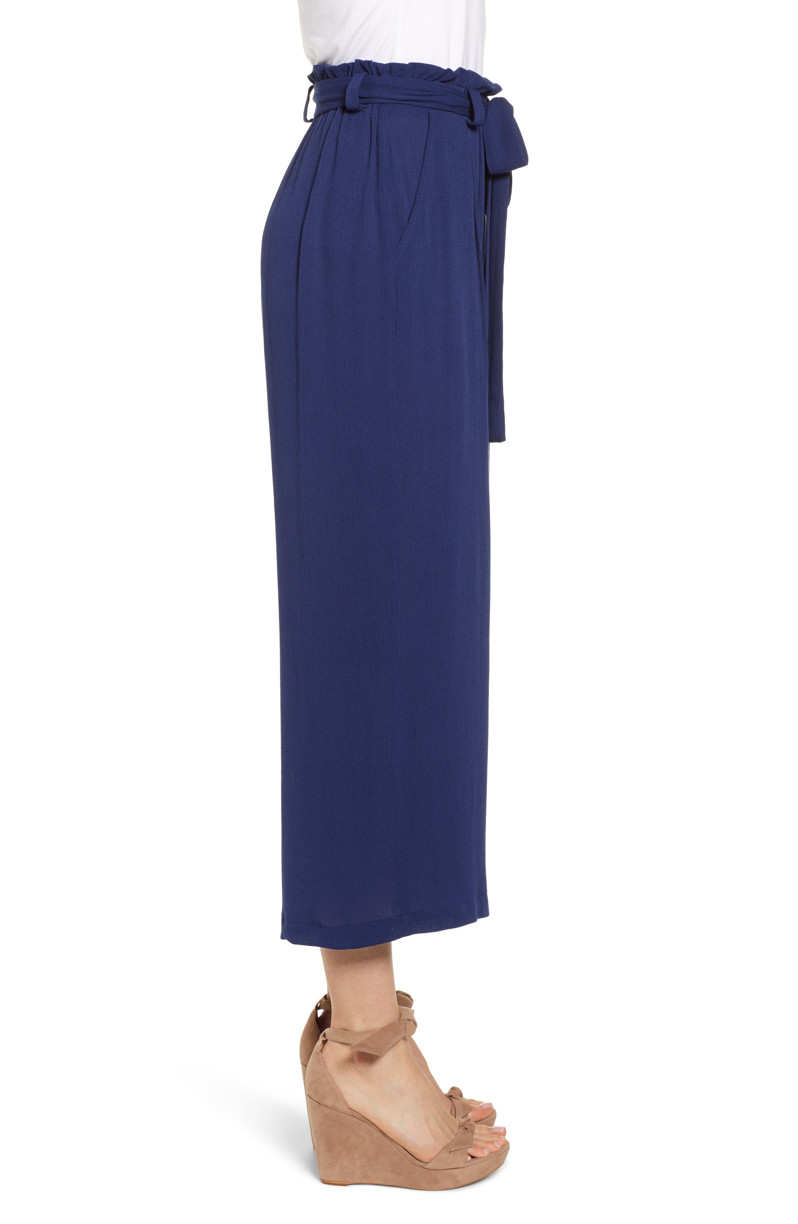 GIBSON,                             x Hi Sugarplum! Sedona Wide Leg Ankle Pants,                             Alternate thumbnail 3, color,                             CHAMBRAY SOLID