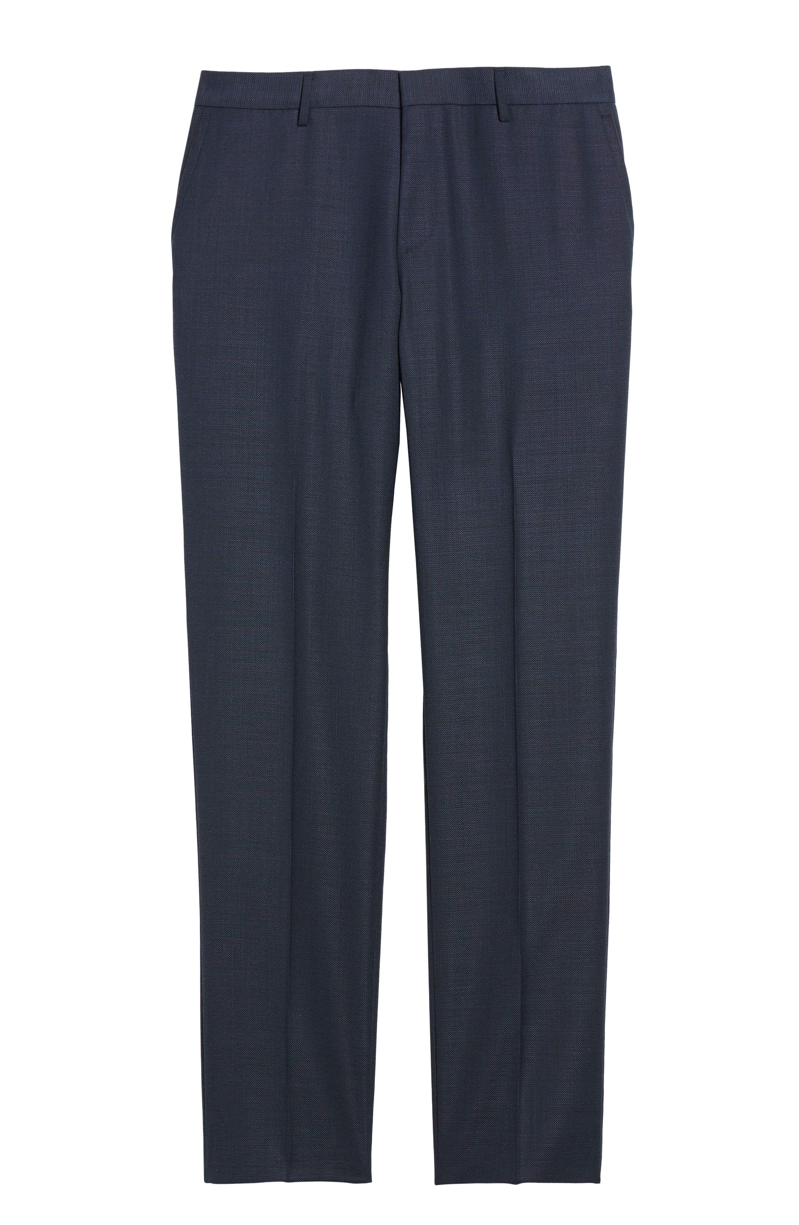 Blake Flat Front Solid Wool Trousers,                             Alternate thumbnail 6, color,                             401