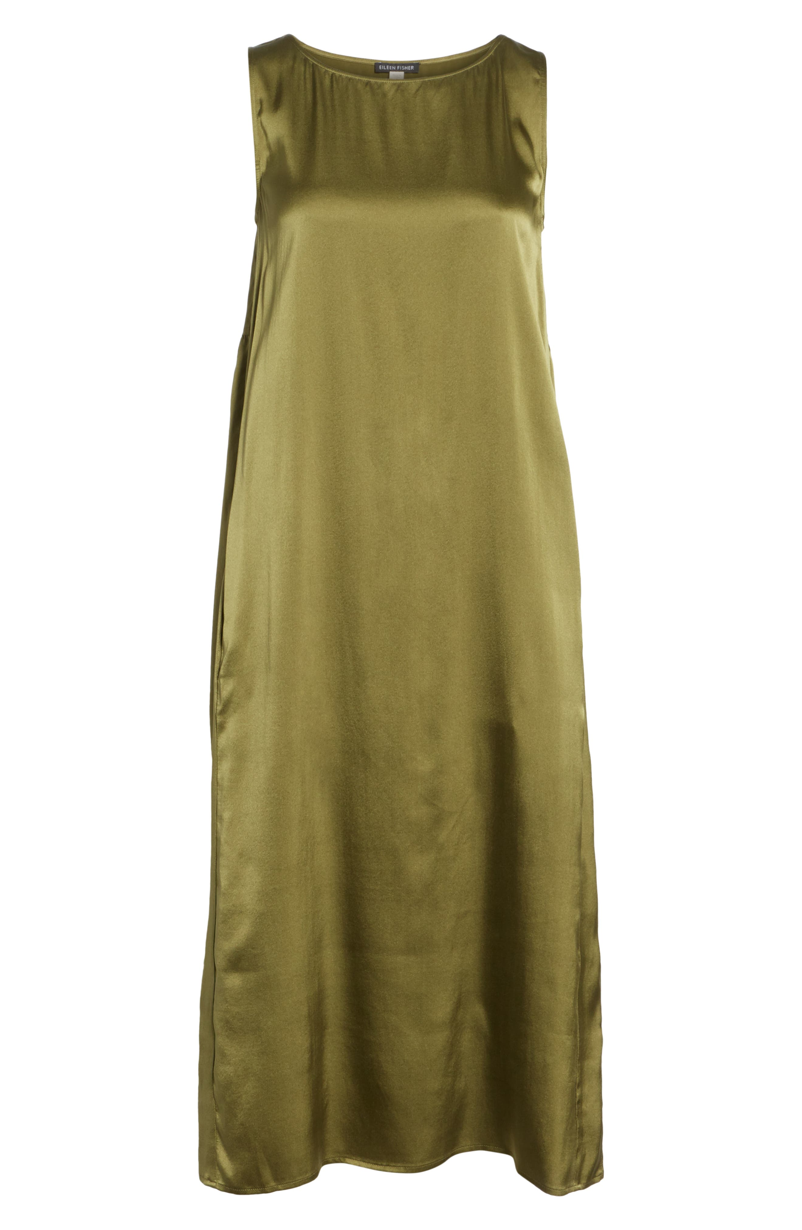 EILEEN FISHER,                             Stretch Silk Tank Dress,                             Alternate thumbnail 7, color,                             301