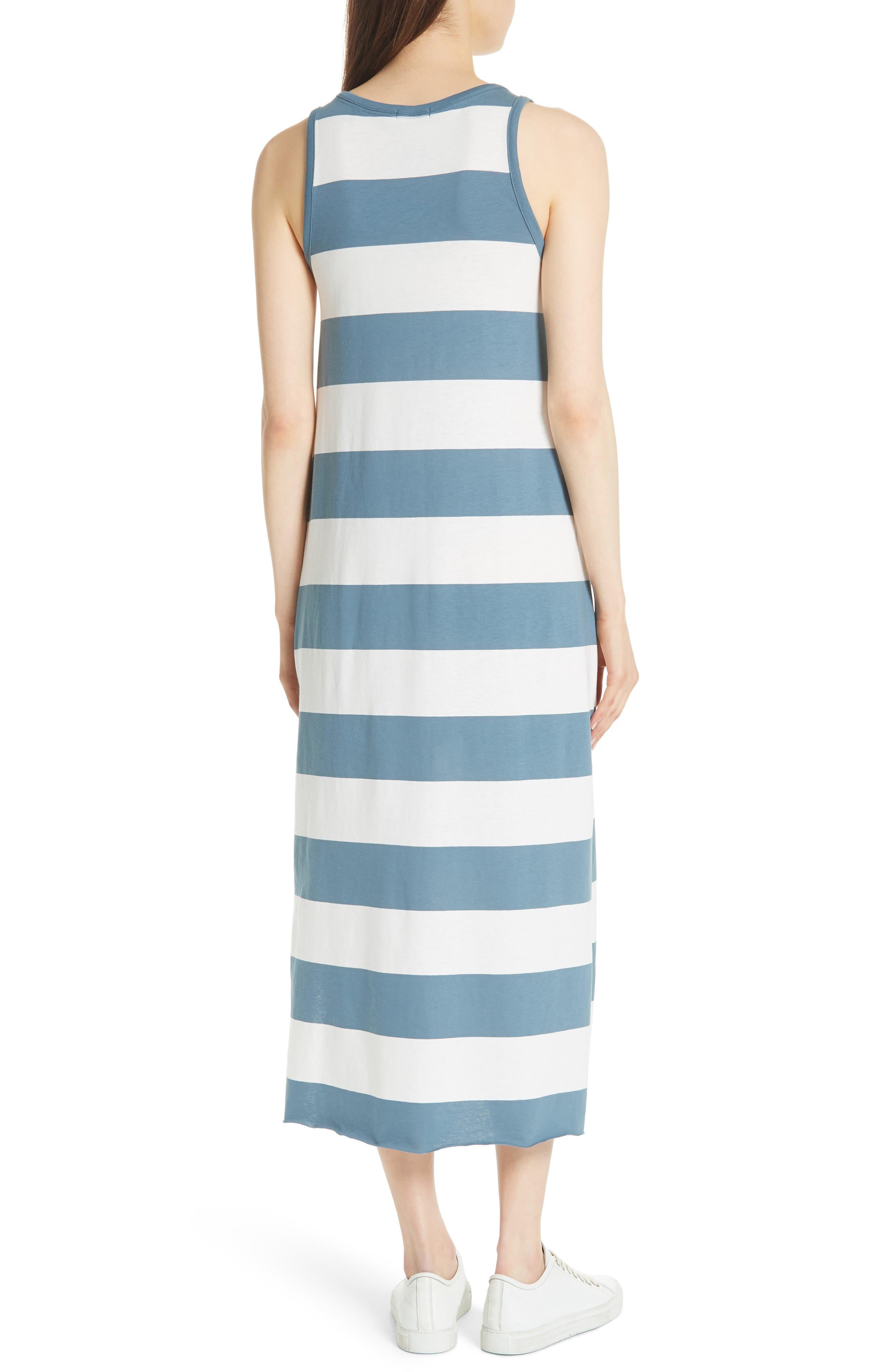 Stripe Mercerized Jersey Dress,                             Alternate thumbnail 2, color,                             CHALK/ PRUSSIAN