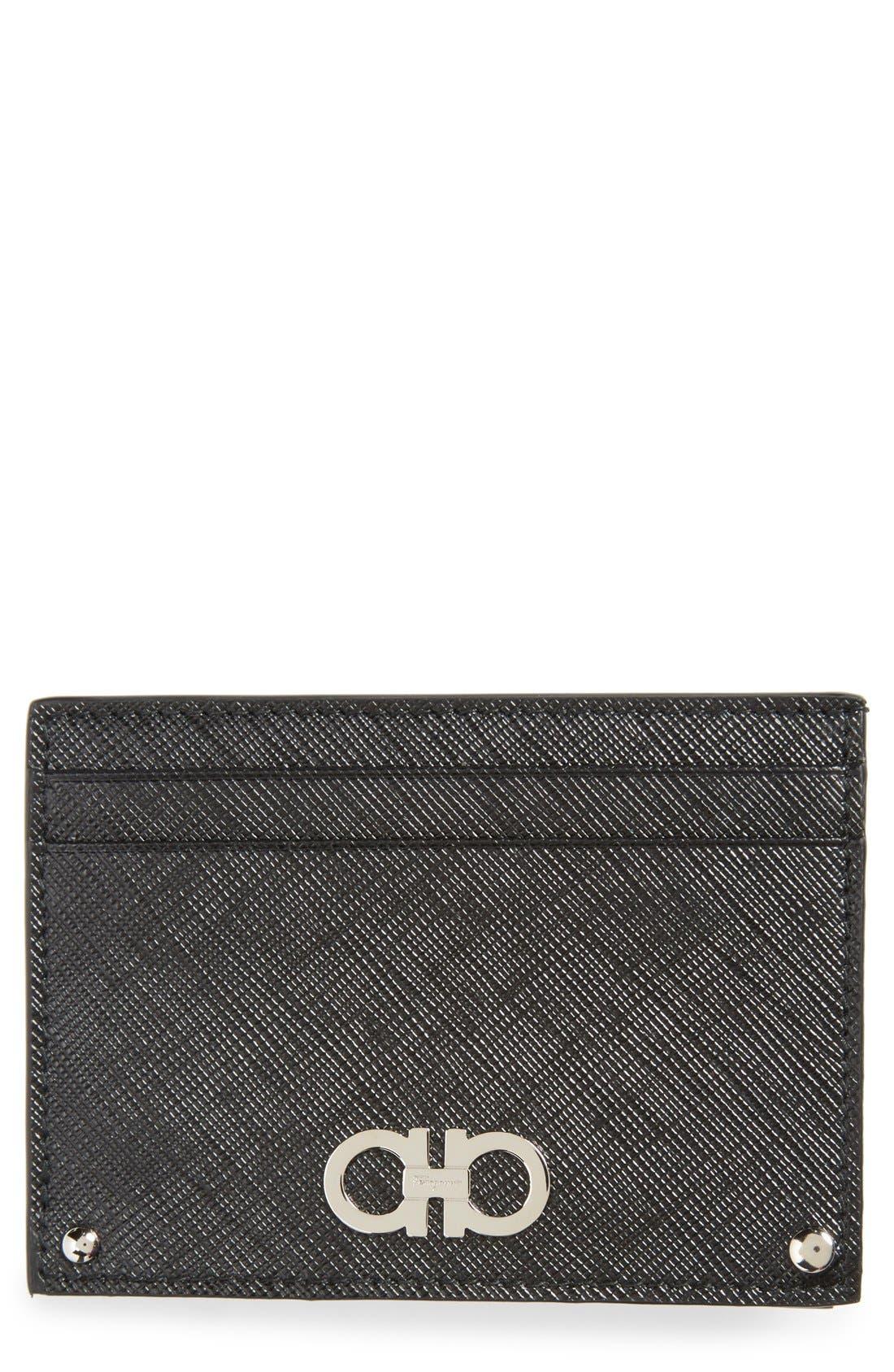 Saffiano Leather Card Case,                             Main thumbnail 1, color,                             001