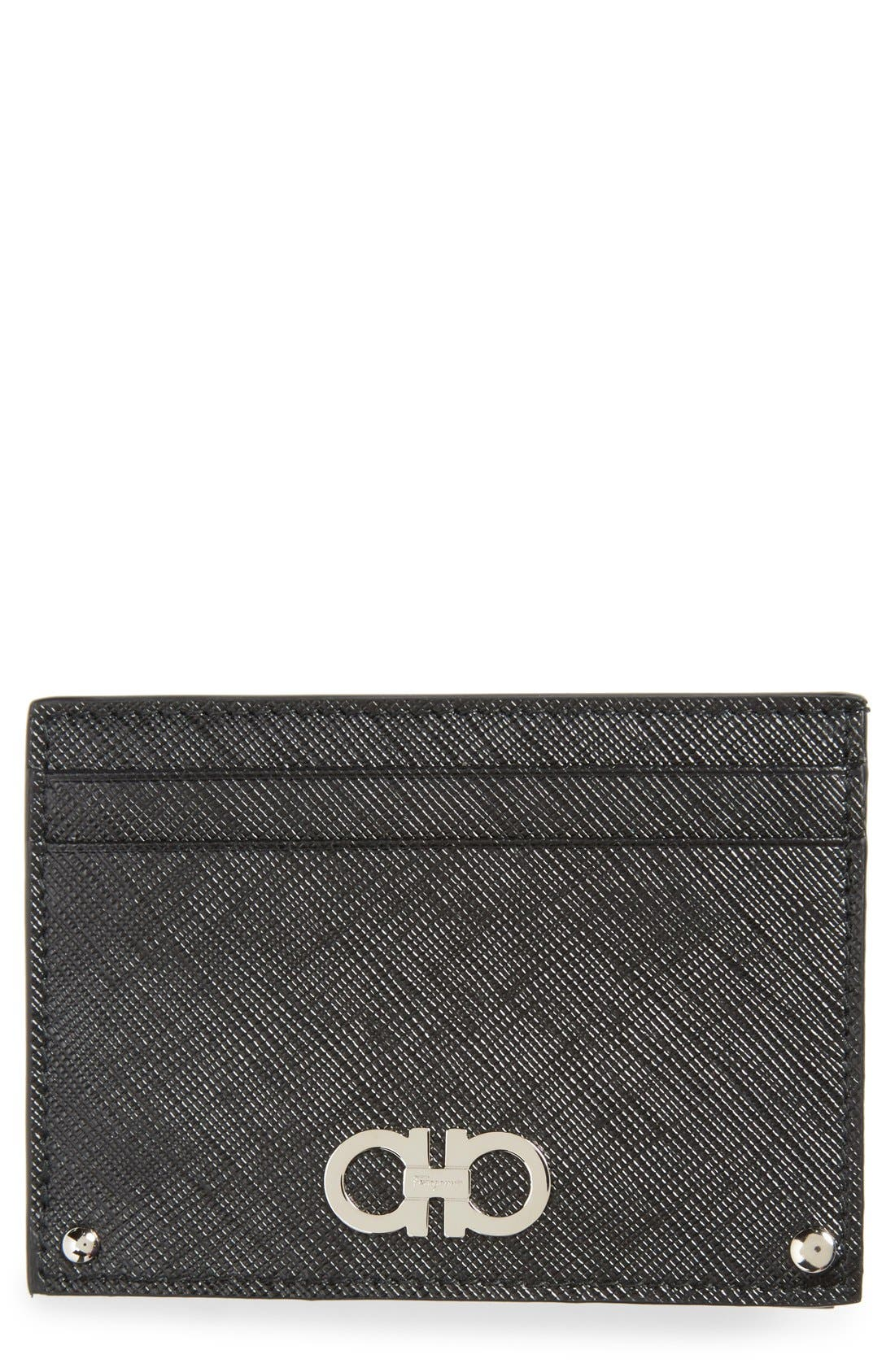 Saffiano Leather Card Case,                         Main,                         color, 001