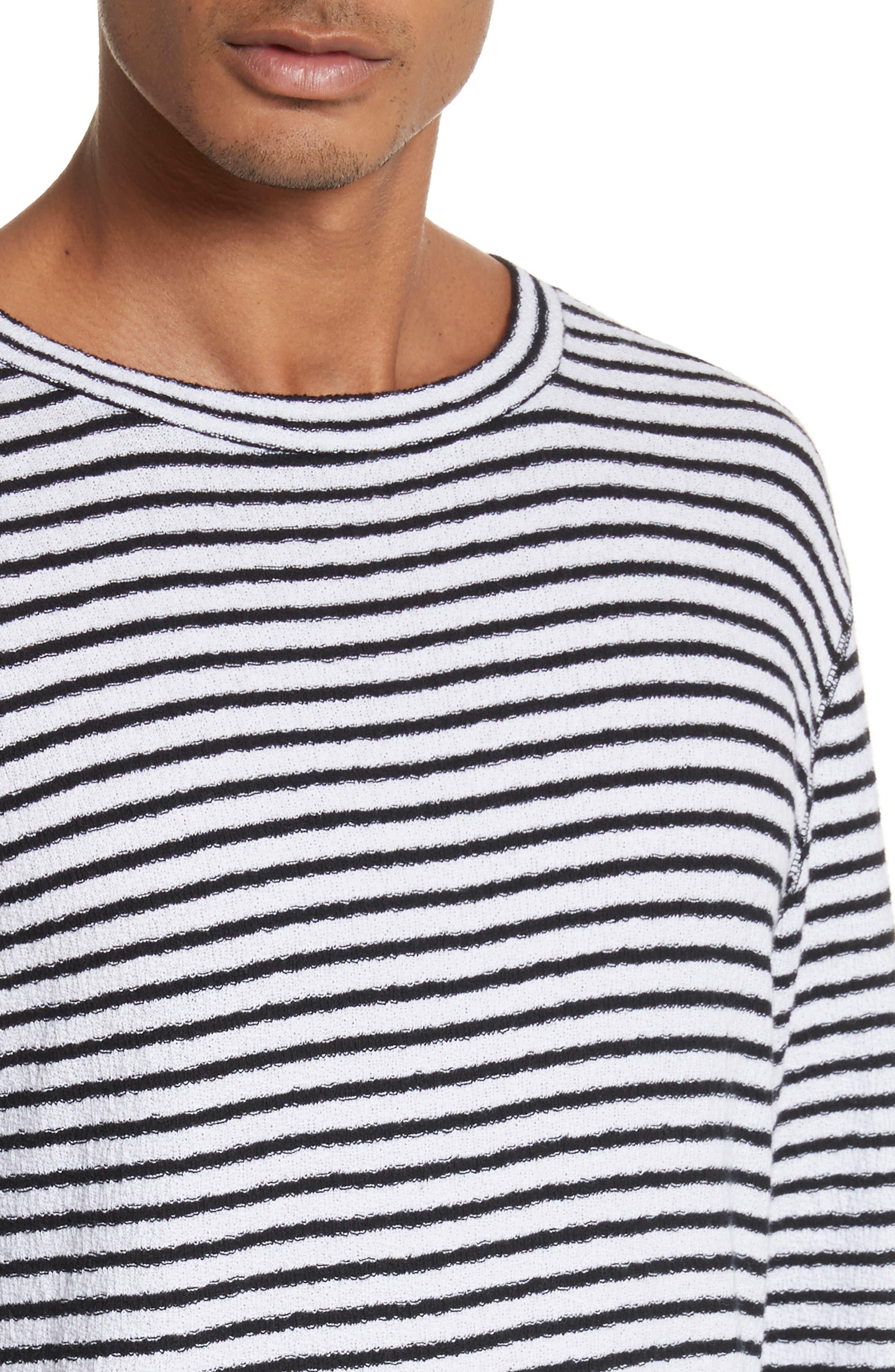 Alex Stripe Long Sleeve T-Shirt,                             Alternate thumbnail 4, color,                             WHITE/BLACK