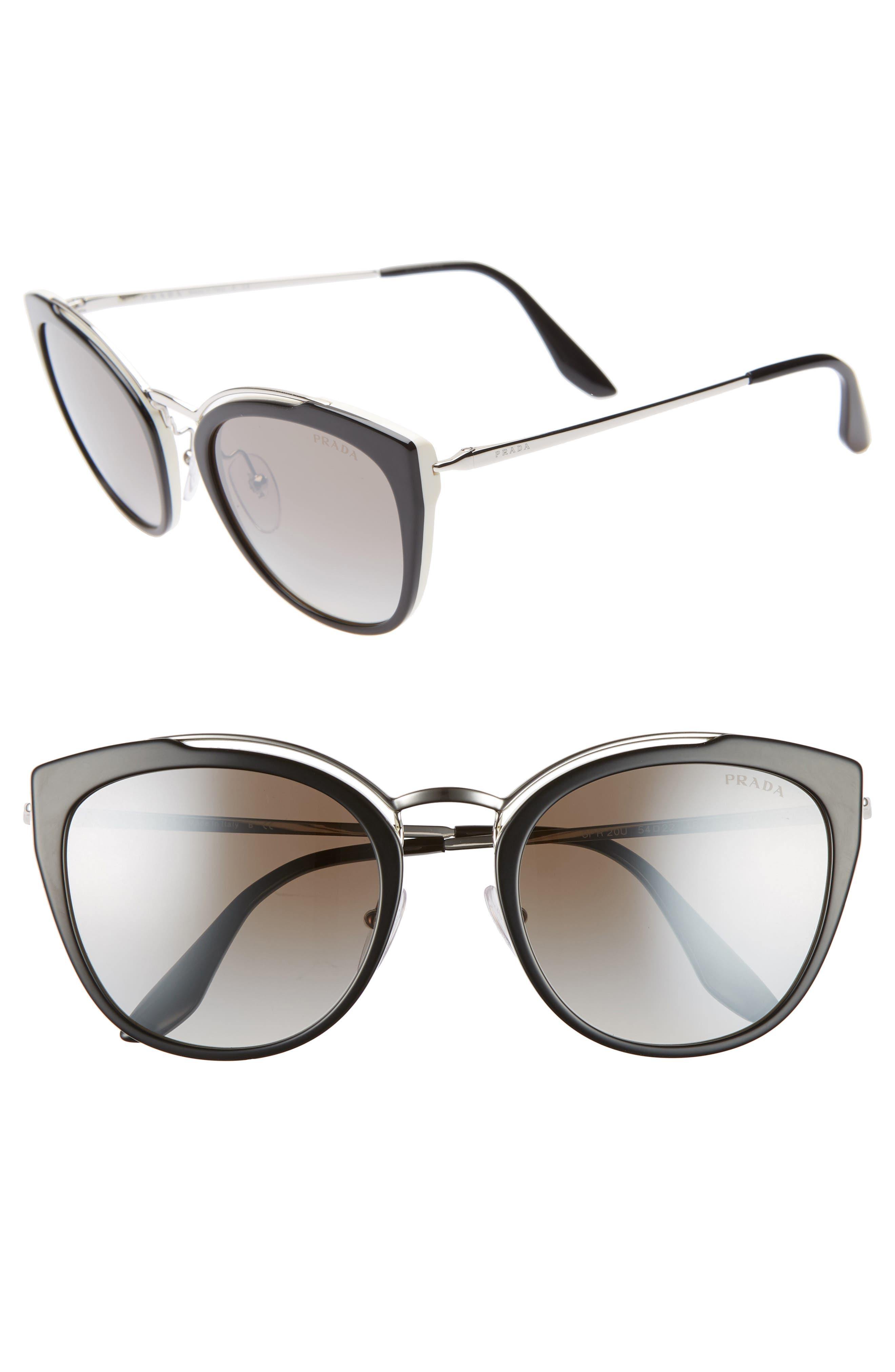PRADA 54mm Gradient Cat Eye Sunglasses, Main, color, BLACK/ SILVER GRADIENT MIRROR