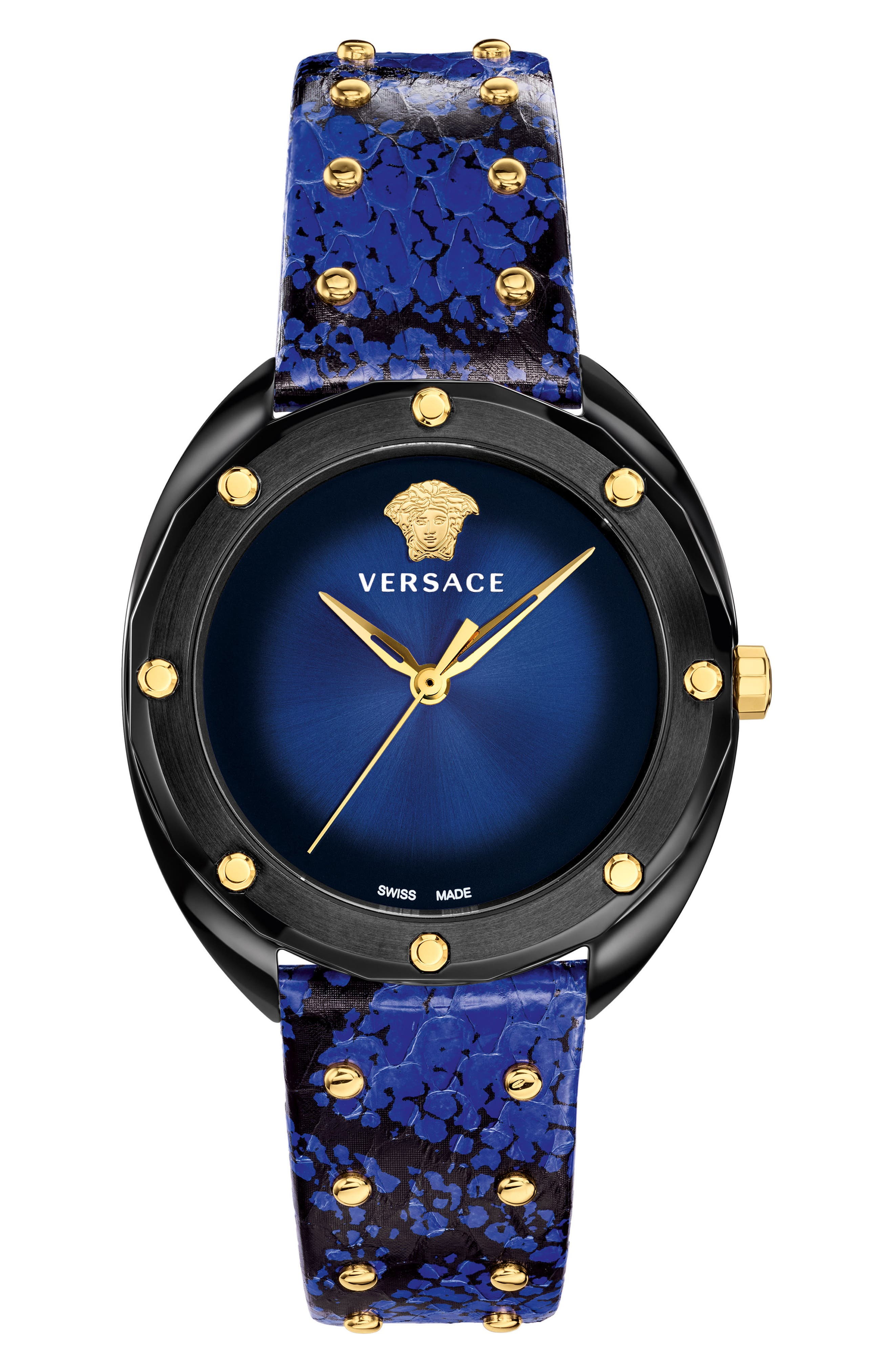VERSACE Shadov Snakeskin Leather Strap Watch, 38mm, Main, color, BLUE/ BLACK
