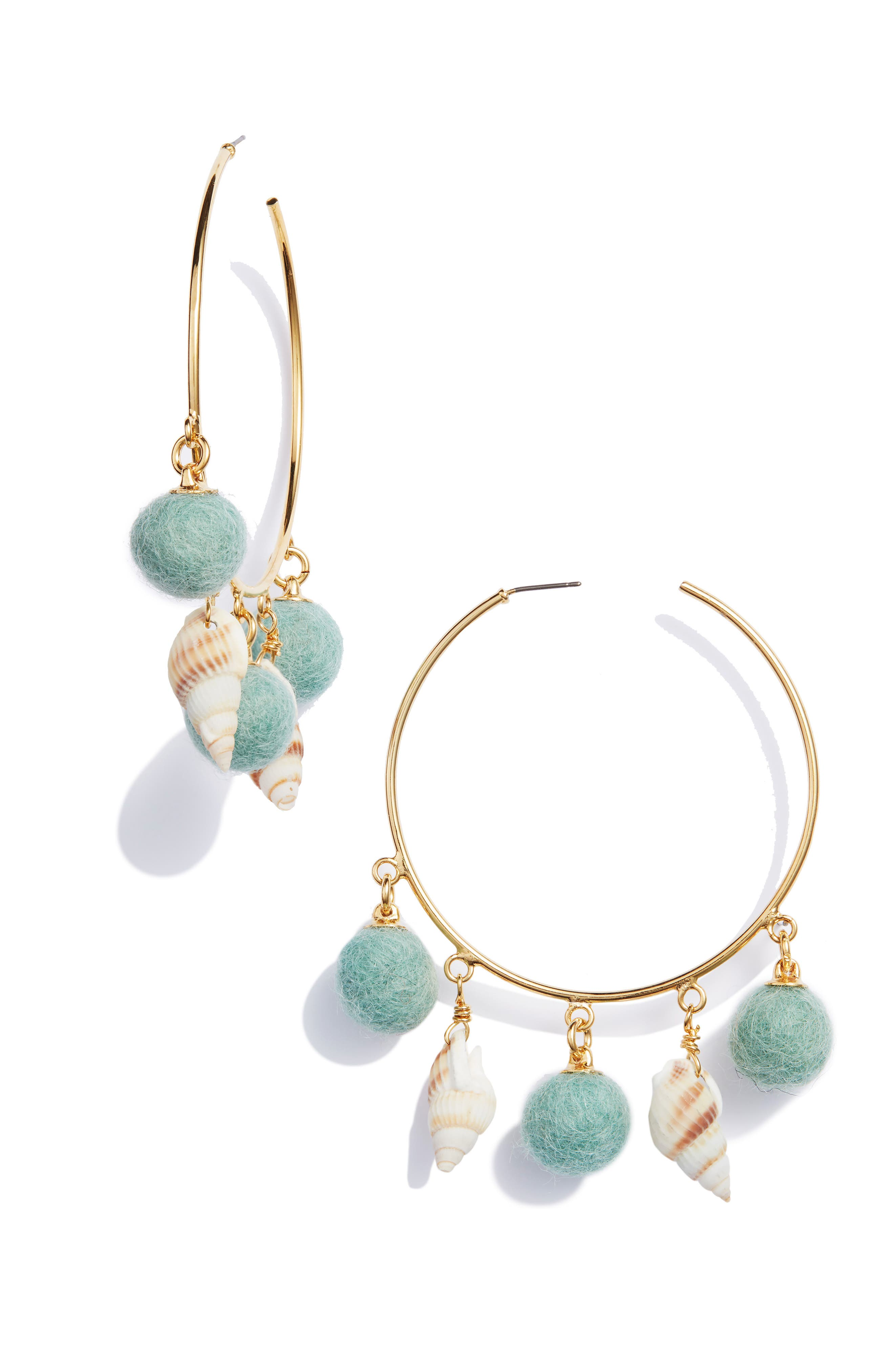 WILD AND WOOLLY Shell & Pom Hoop Earrings in Teal