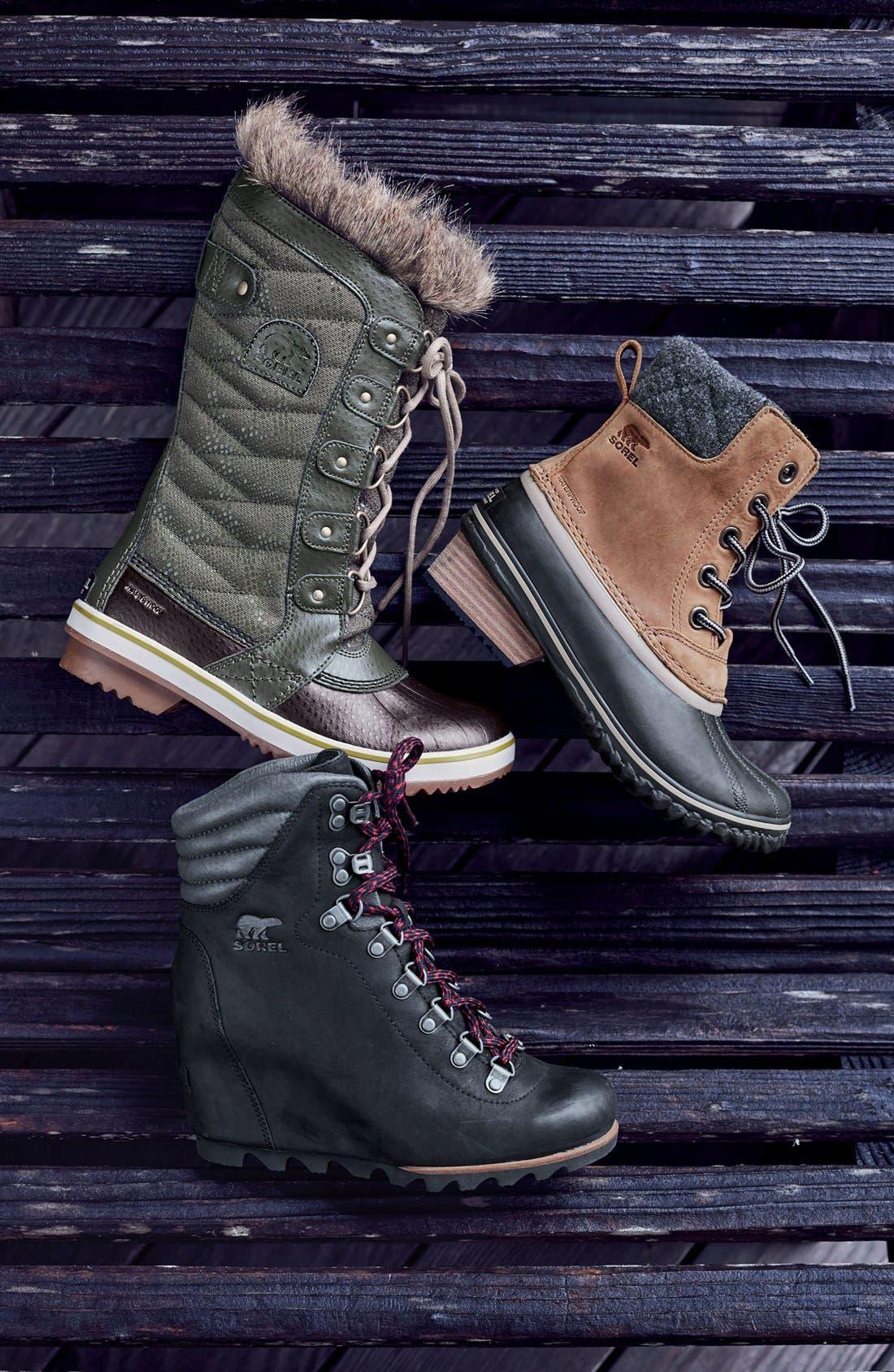 'Tofino II' Faux Fur Lined Waterproof Boot,                             Alternate thumbnail 5, color,                             BLACK