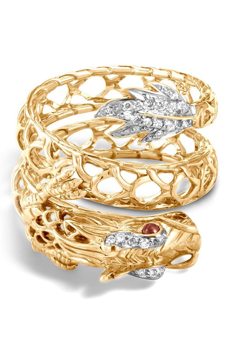John Hardy LEGENDS NAGA DRAGON COIL RING WITH DIAMONDS