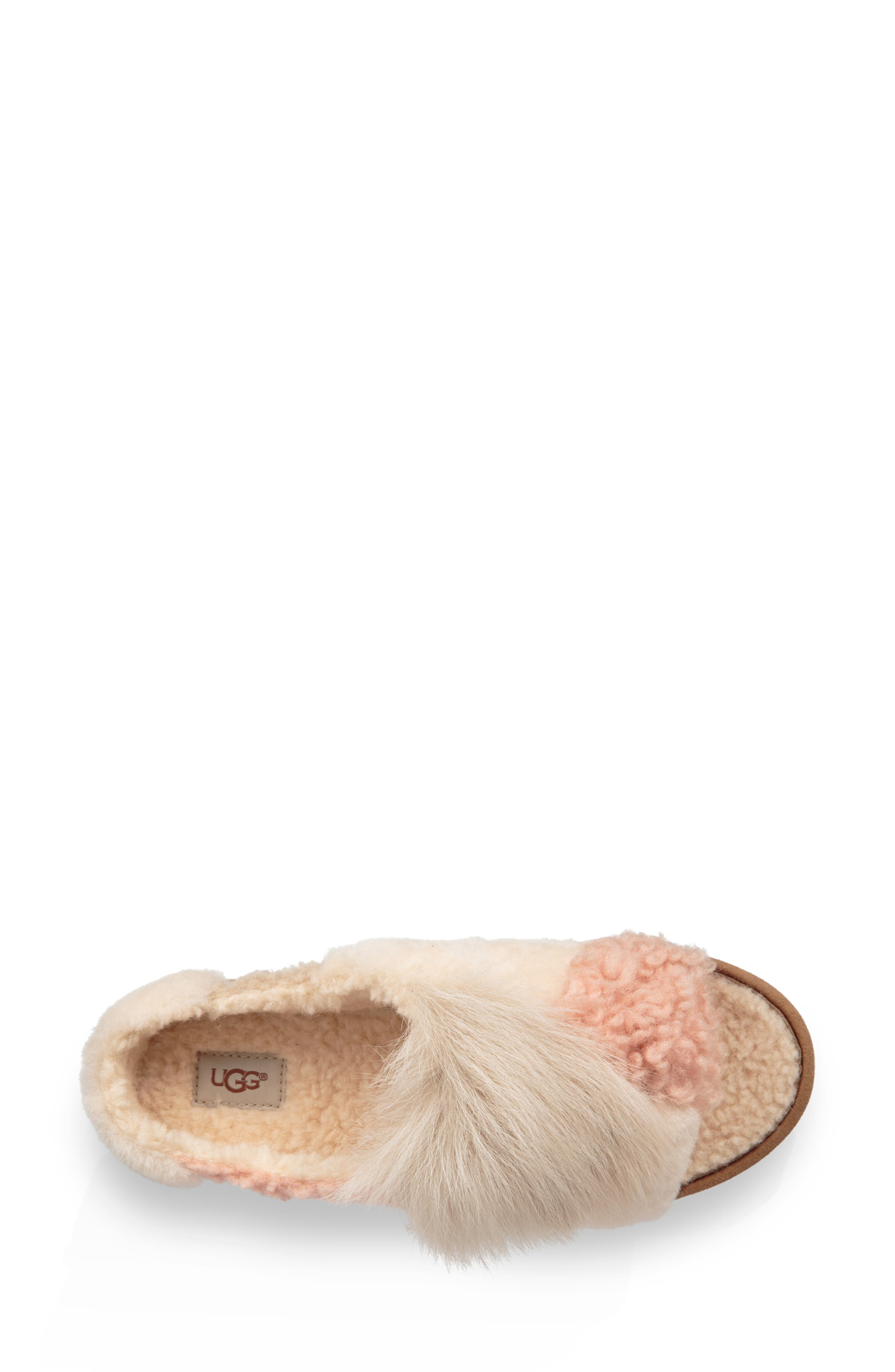 Patchwork Fluff Slipper,                             Alternate thumbnail 4, color,                             CHESTNUT