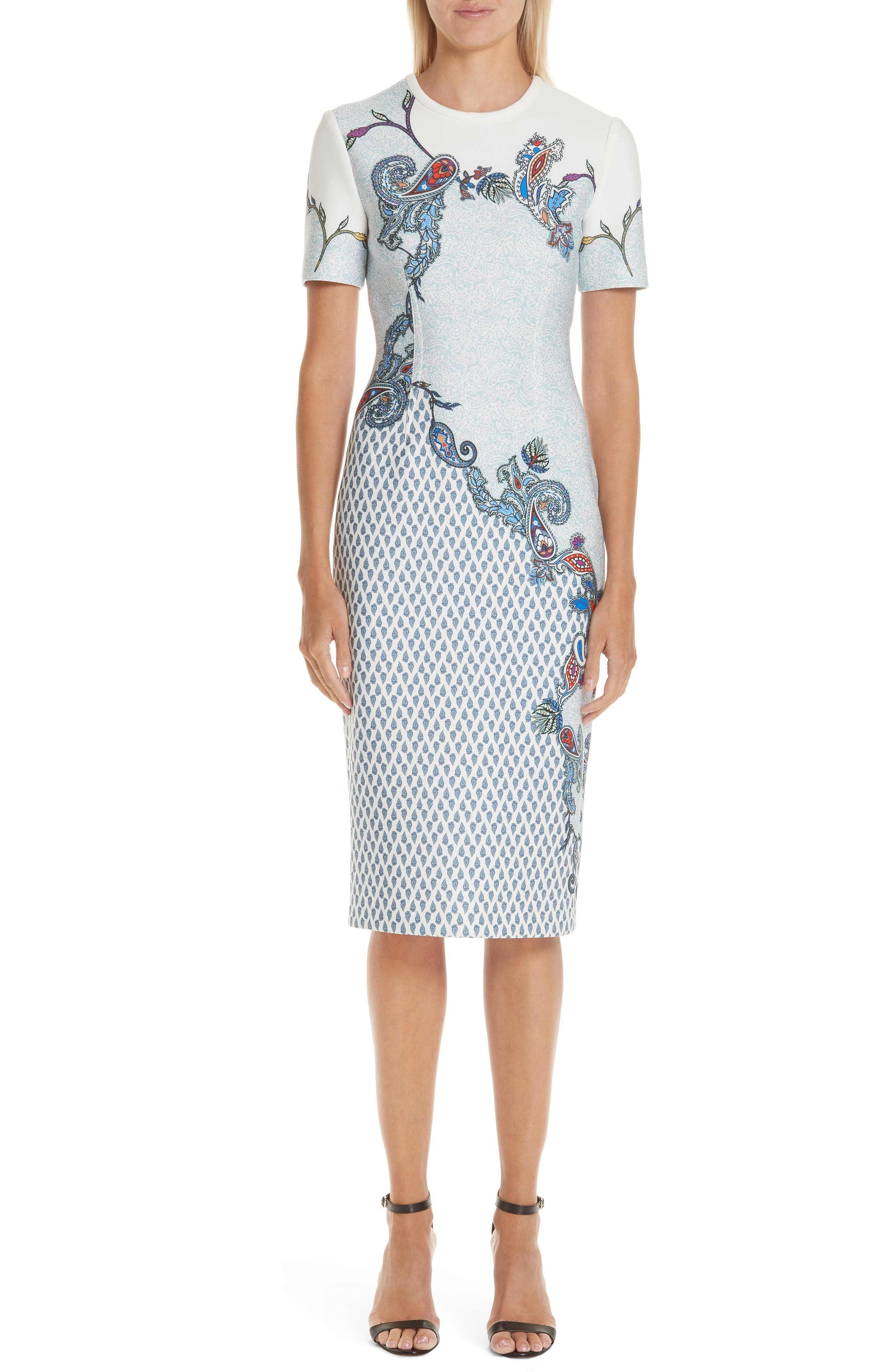 Yigal Azrouel Paisley Print Scuba Dress, Blue