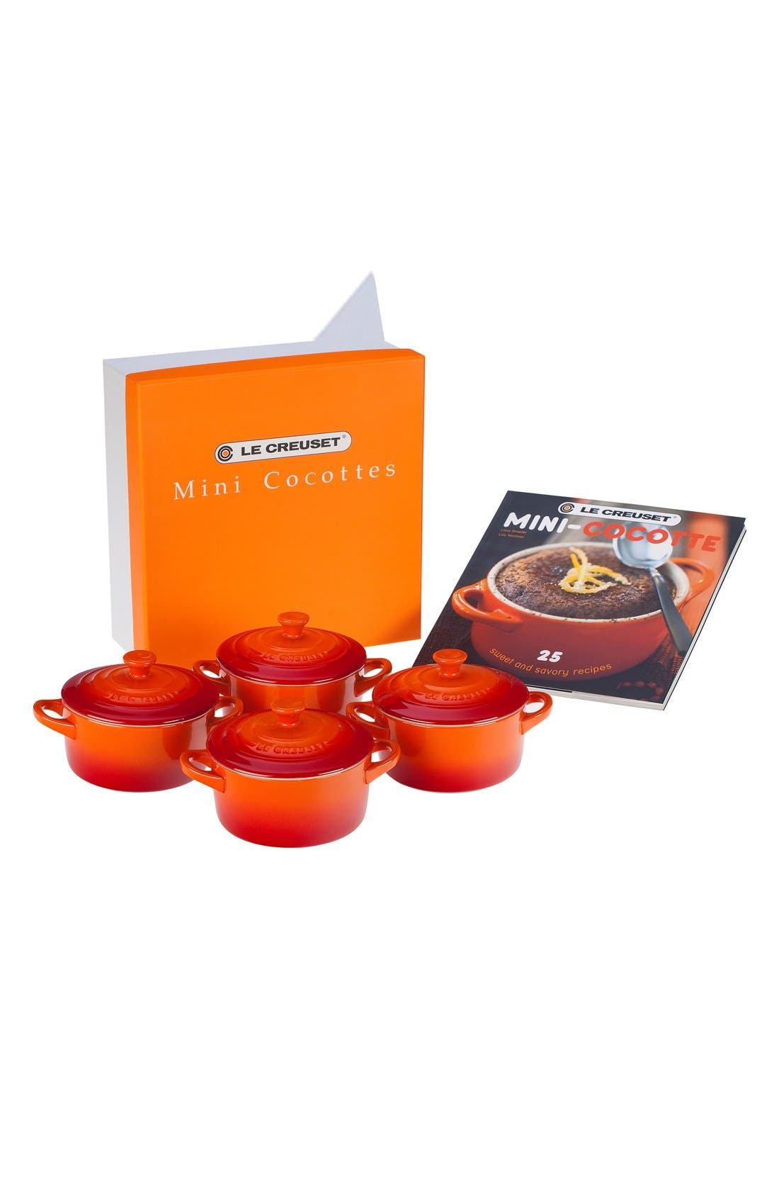 Four Mini Cocottes with Cookbook, Main, color, FLAME