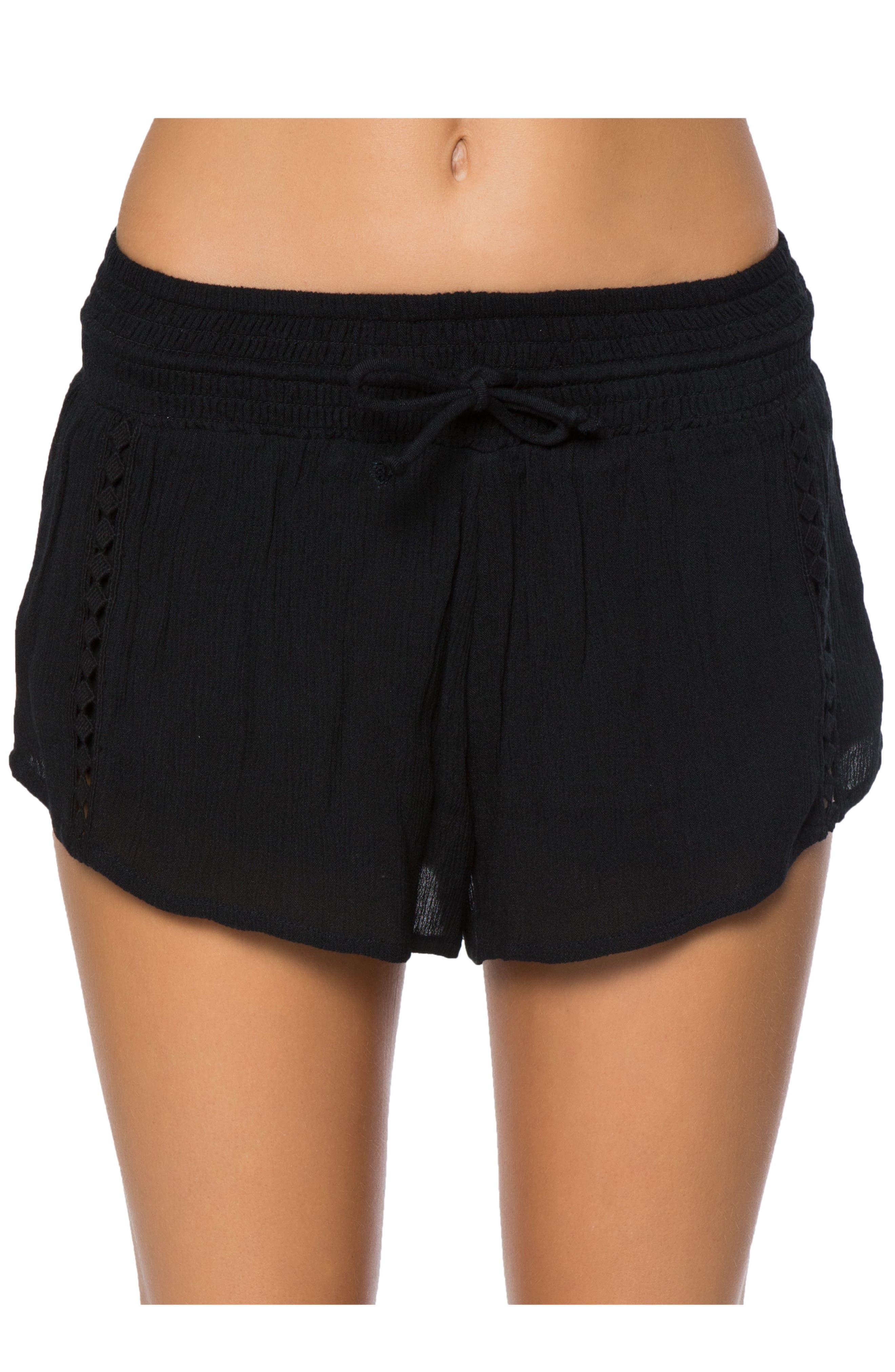 Elise Crochet Trim Shorts,                             Main thumbnail 1, color,                             001