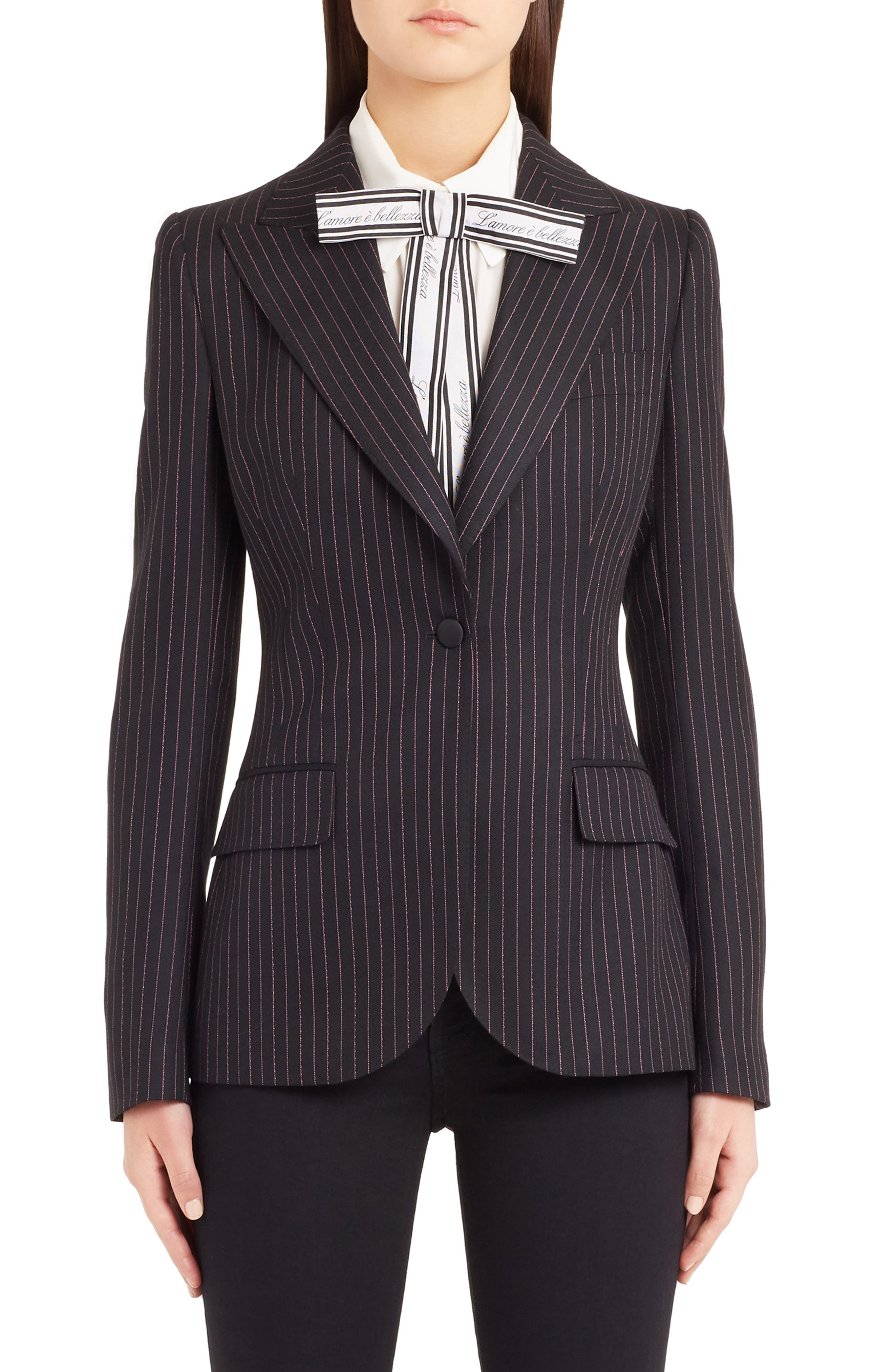 Pinstripe Stretch Wool Jacket,                             Main thumbnail 1, color,                             BLACK