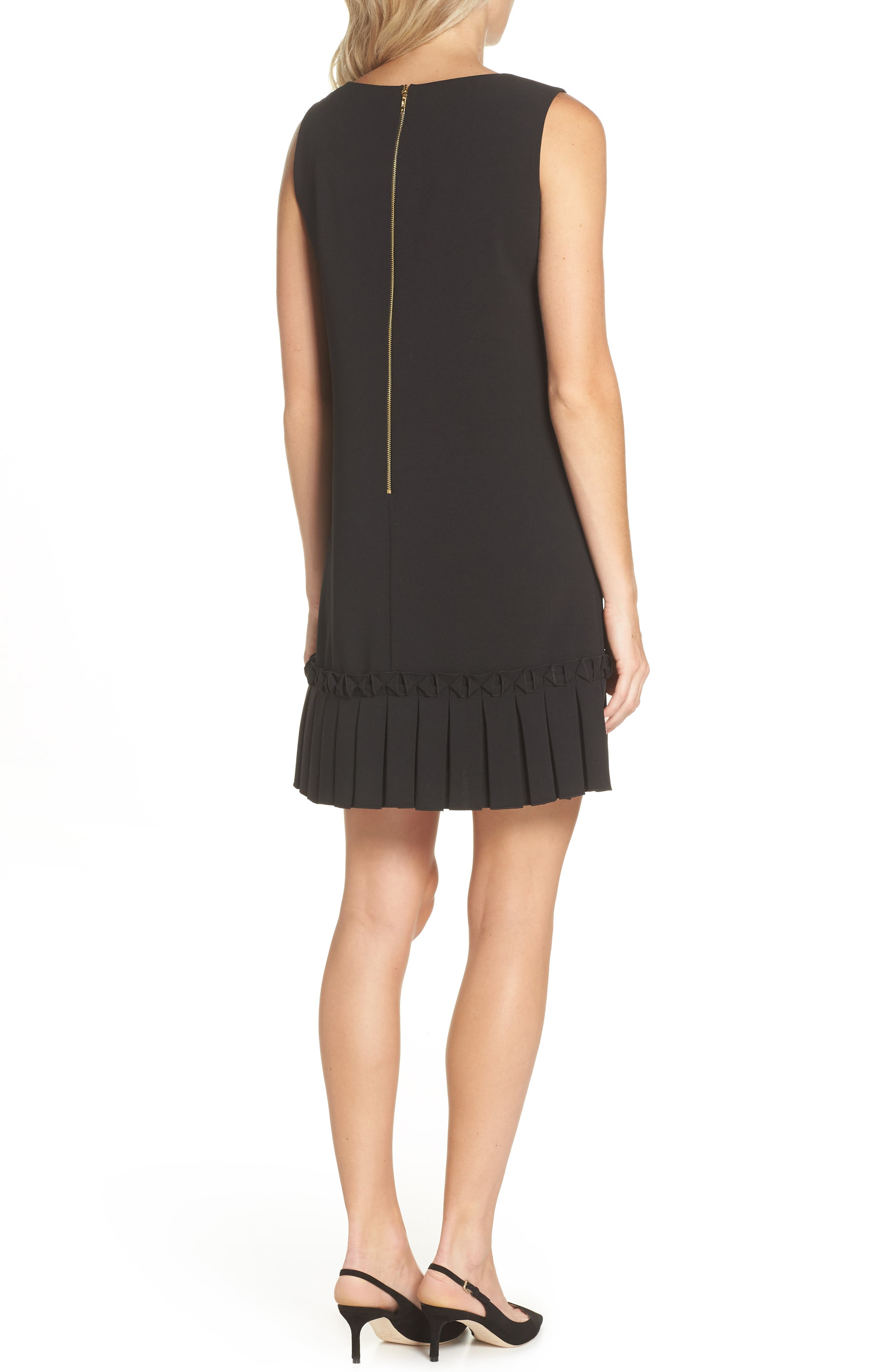 Pleated Shift Dress,                             Alternate thumbnail 2, color,                             001