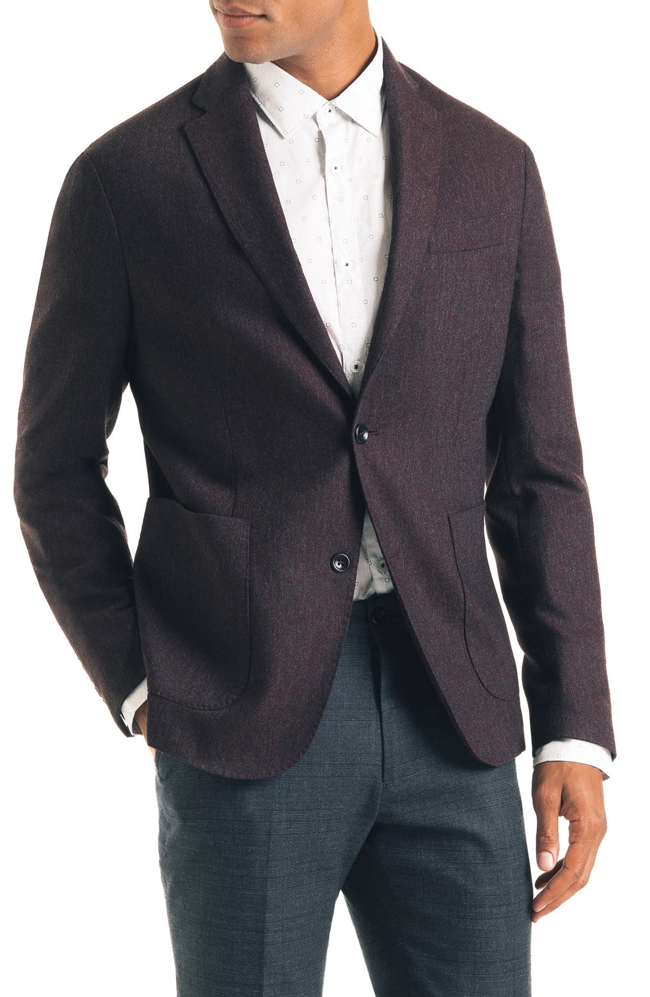 GOOD MAN BRAND Downtown Trim Fit Stretch Wool Blend Sport Coat in Burgundy