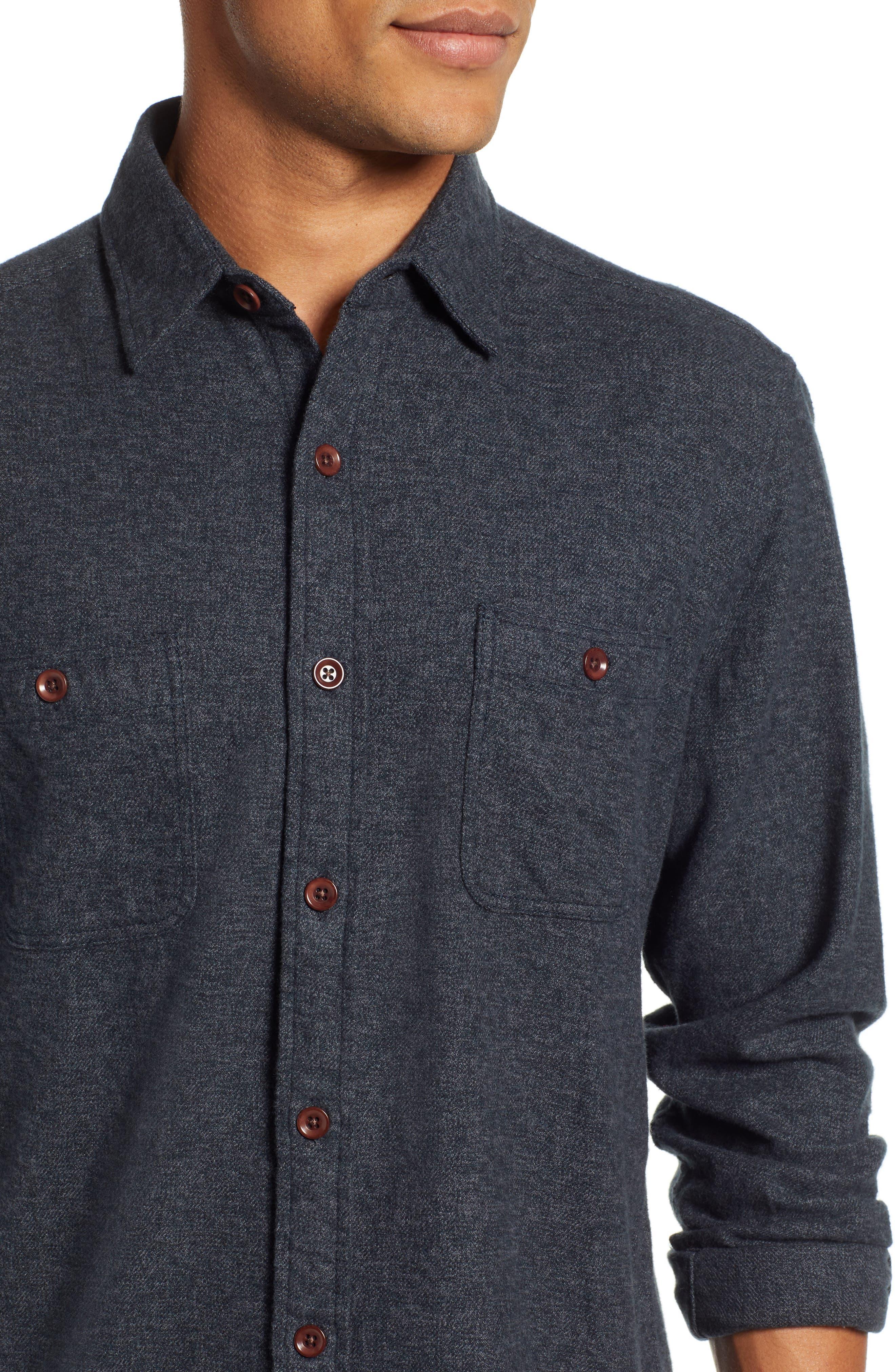 Seasons Organic Cotton Flannel Sport Shirt,                             Alternate thumbnail 2, color,                             WASHED BLACK