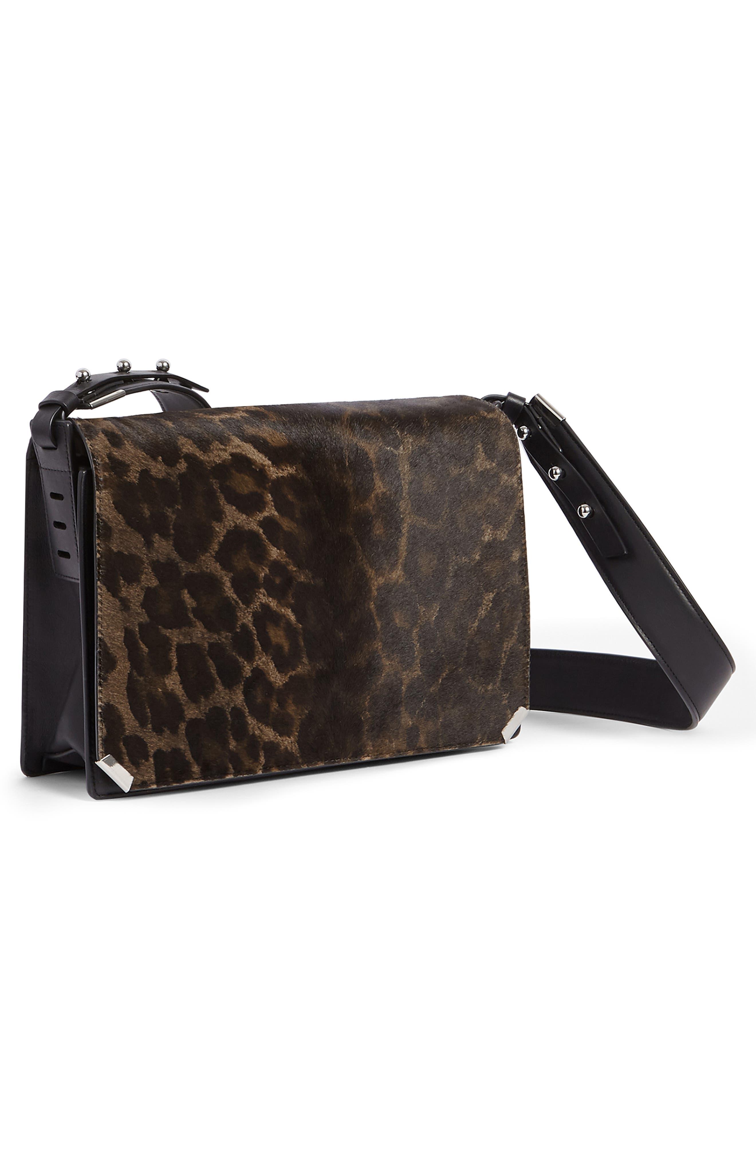 Vincent Genuine Calf Hair Shoulder Bag,                             Alternate thumbnail 7, color,                             LEOPARD/ BLACK