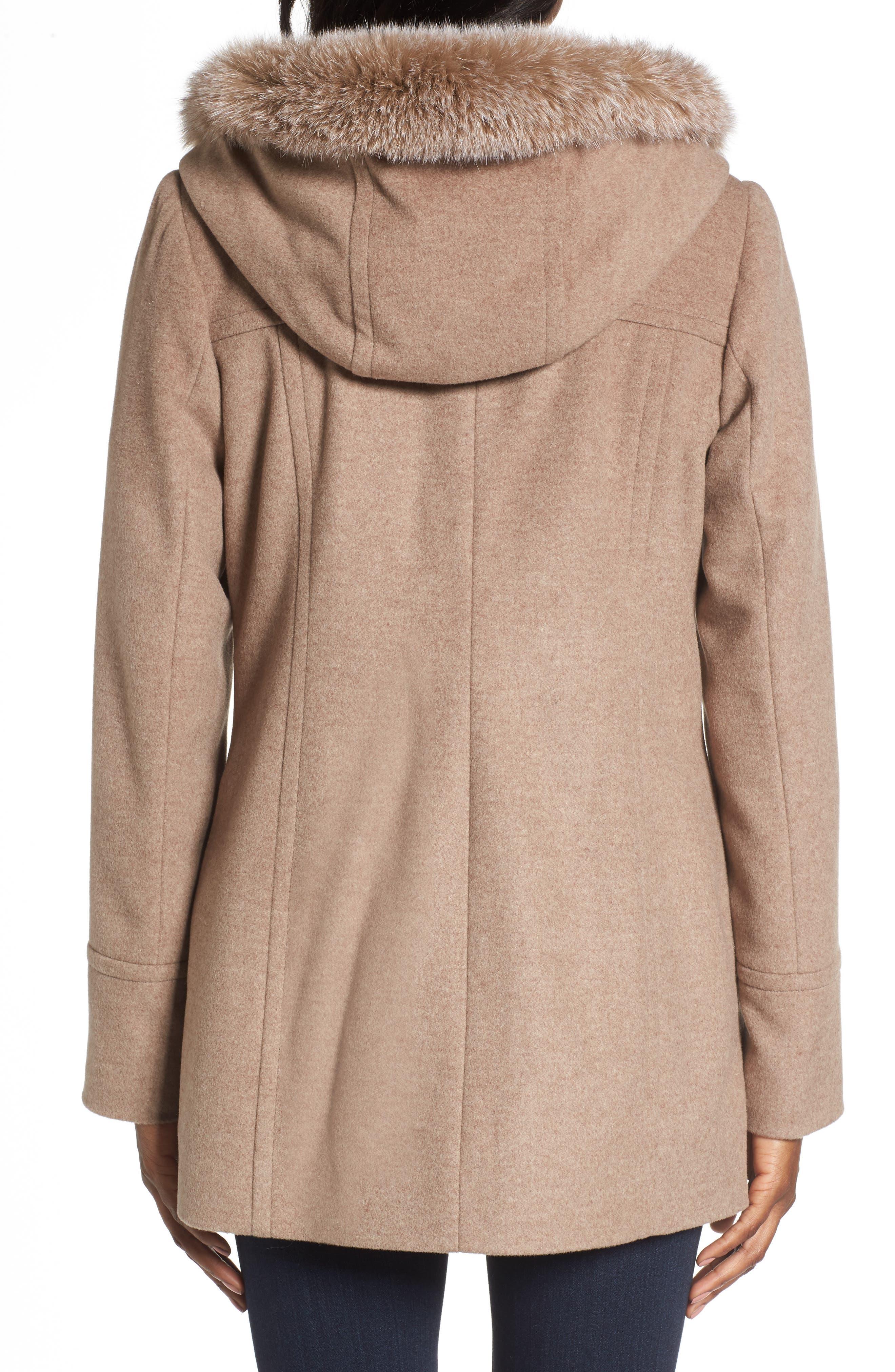 Hooded Wool Blend Coat with Genuine Fox Fur Trim,                             Alternate thumbnail 5, color,